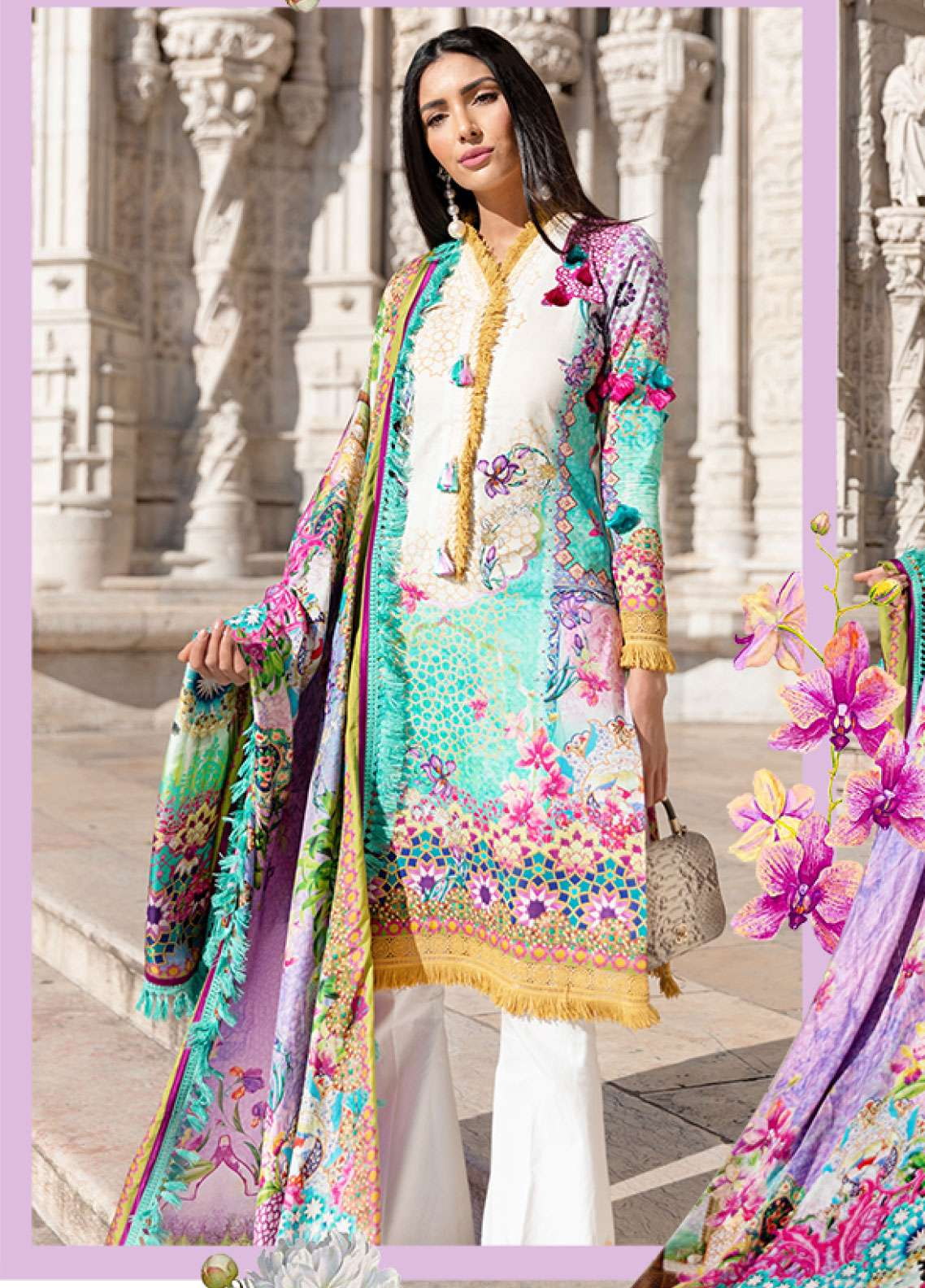 Farah Talib Embroidered Lawn Unstitched 3 Piece Suit FTA19L 14 Silva - Spring / Summer Collection