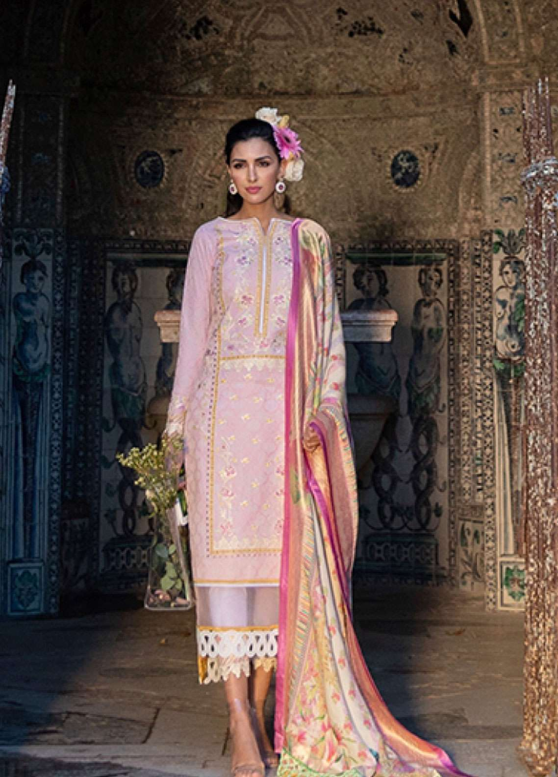 Farah Talib Embroidered Lawn Unstitched 3 Piece Suit FTA19L 5 Bonita Blush - Spring / Summer Collection
