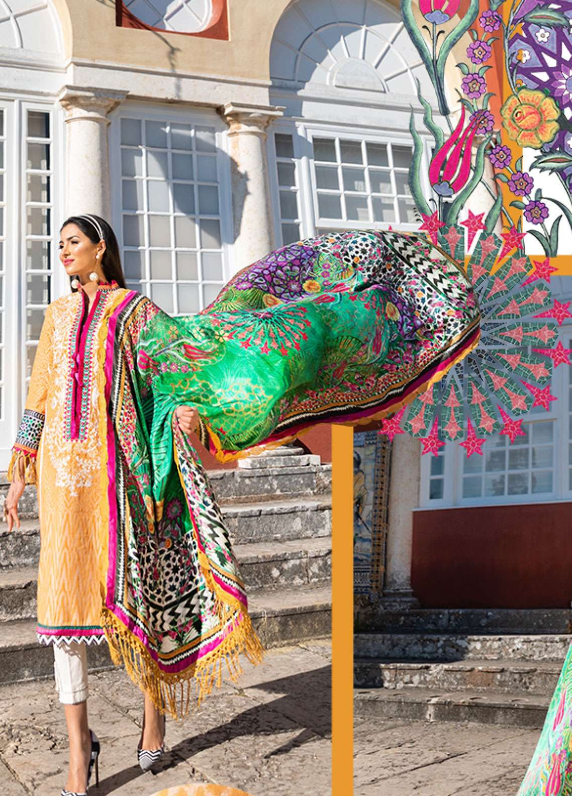 Farah Talib Embroidered Lawn Unstitched 3 Piece Suit FTA19L 7 Amerillo - Spring / Summer Collection