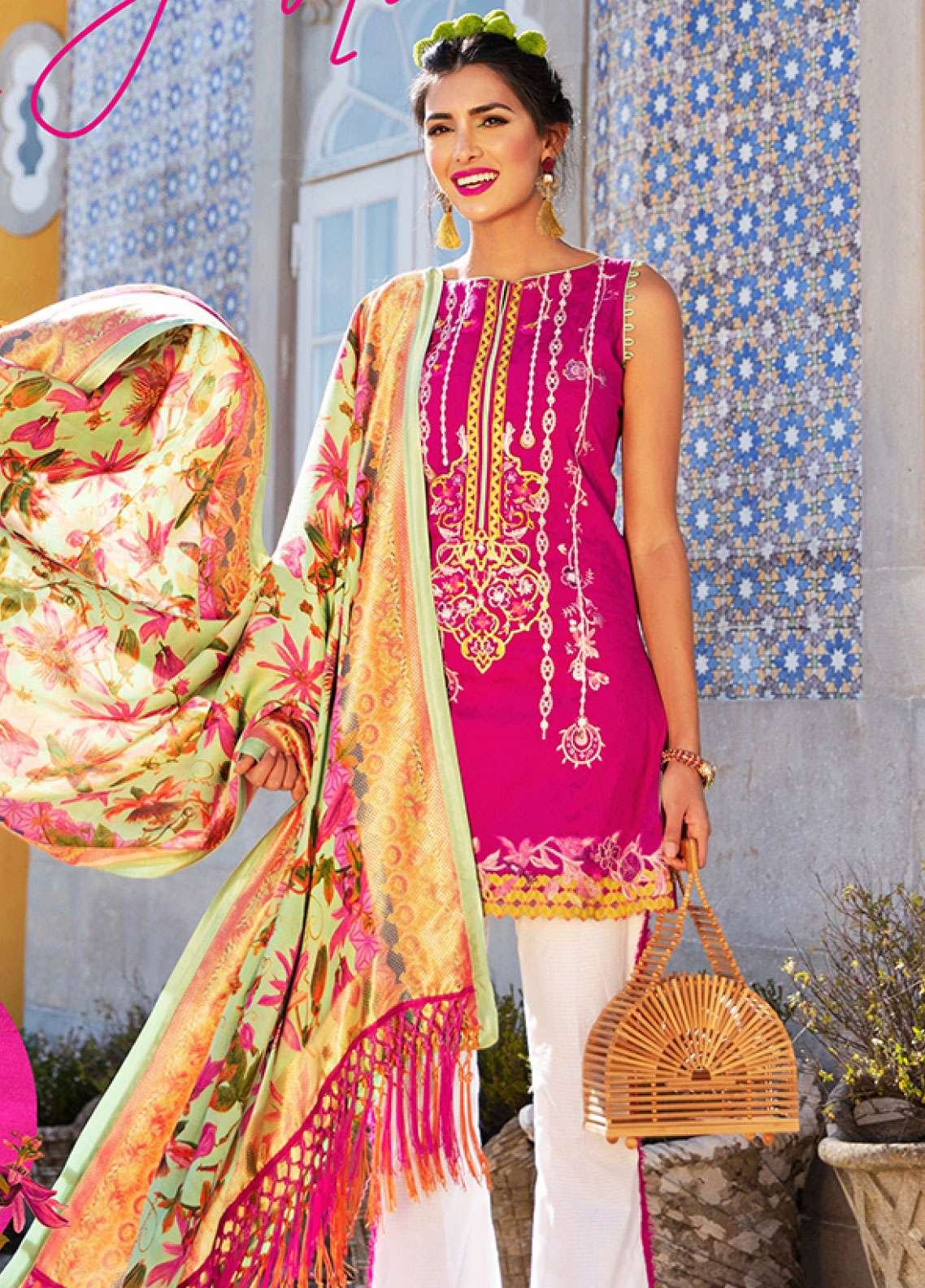 Farah Talib Embroidered Lawn Unstitched 3 Piece Suit FTA19L 9 Fushia Jardin - Spring / Summer Collection