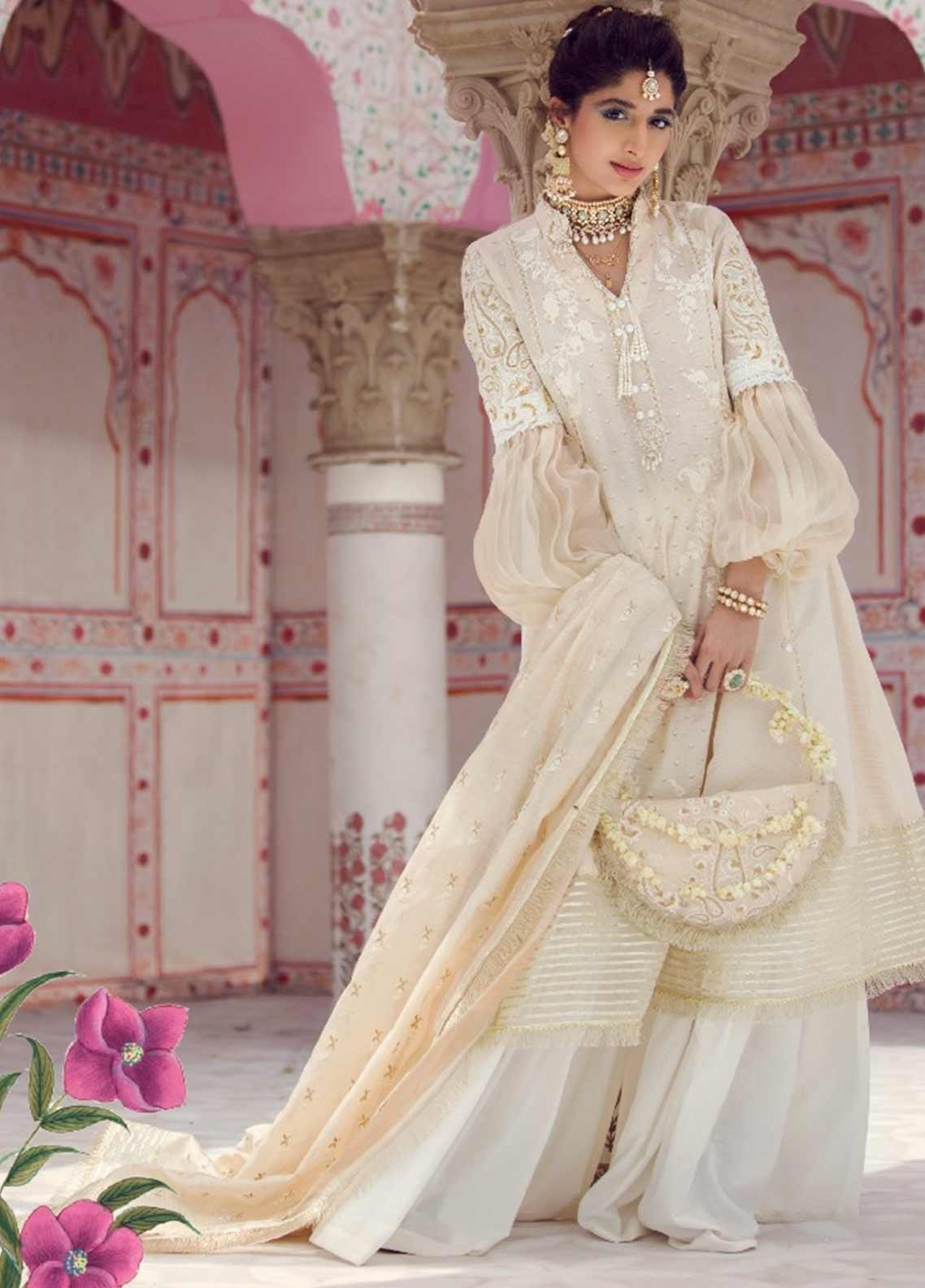 Farah Talib Embroidered Jacquard Unstitched 3 Piece Suit FTA19E 2 DOR - Festive Collection