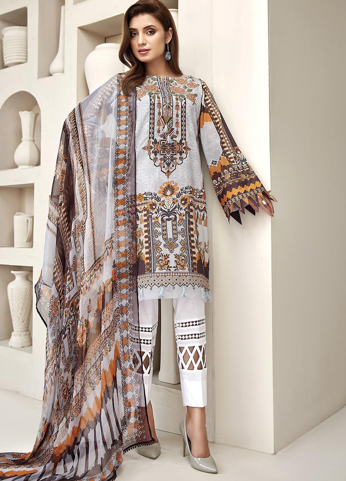 Farasha Embroidered Lawn Unstitched 3 Piece Suit FSH20L 08 SUNDAZE BLAZE - Spring / Summer Collection