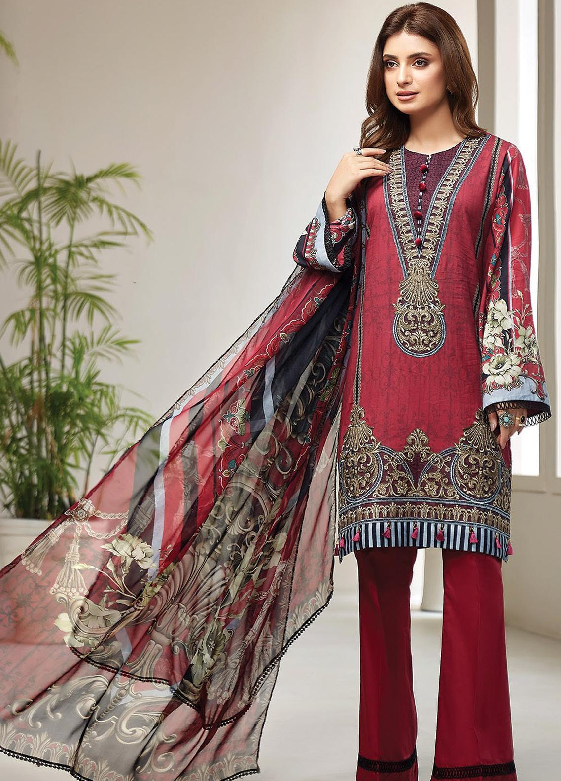 Farasha Embroidered Lawn Unstitched 3 Piece Suit FSH20L 09 ROYAL SCARLET - Spring / Summer Collection