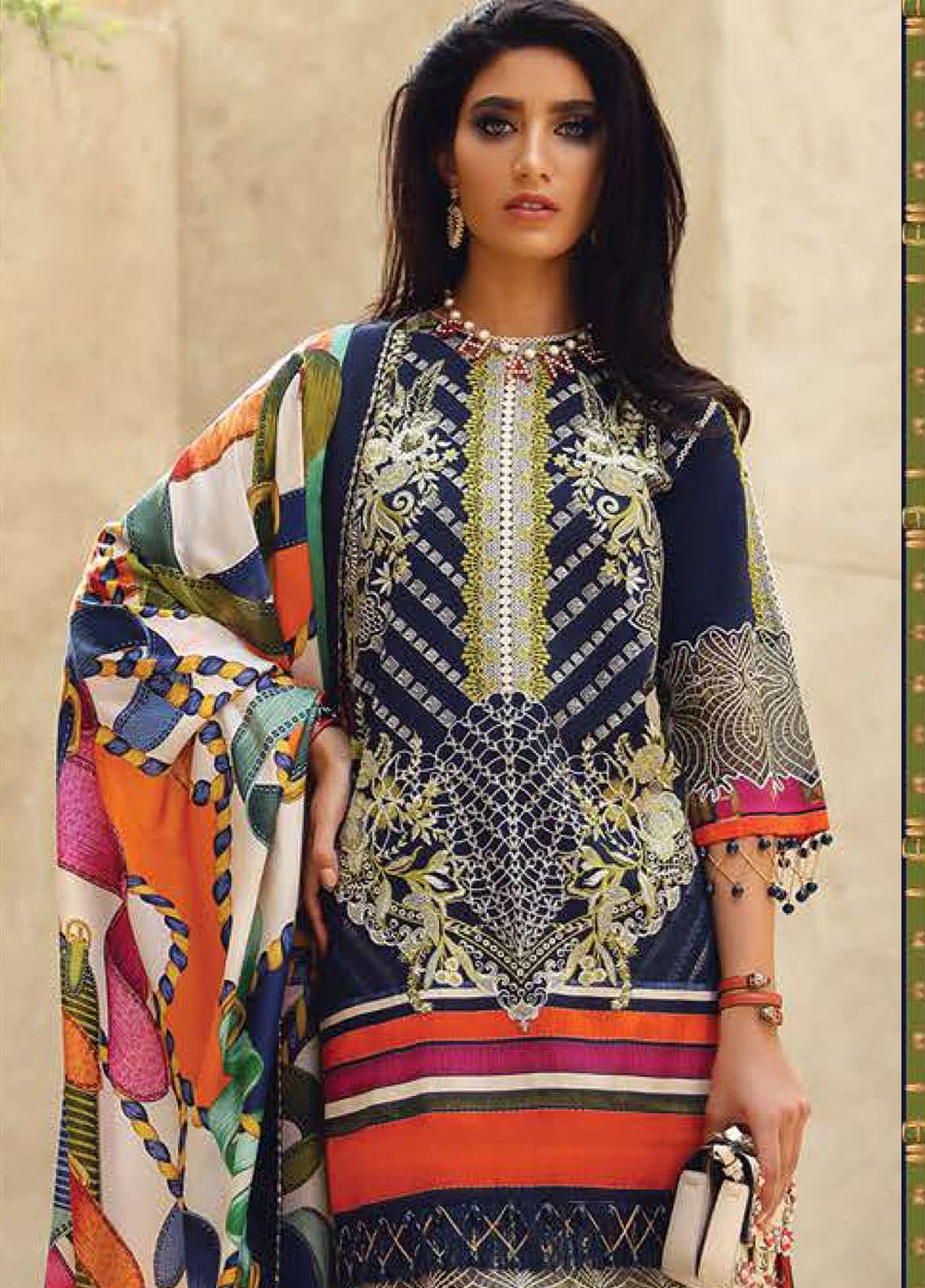 Faraz Manan Embroidered Pima Cotton Unstitched 3 Piece Suit FZM19L 13 - Spring / Summer Collection