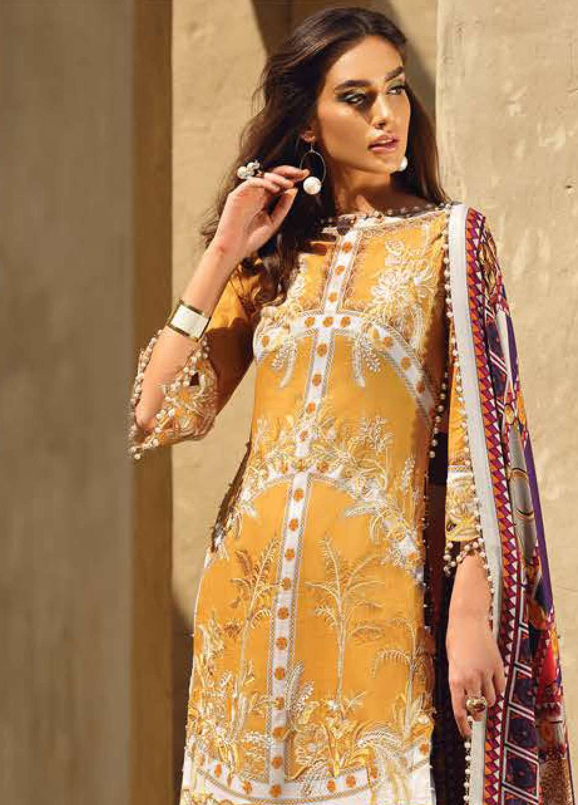 Faraz Manan Embroidered Pima Cotton Unstitched 3 Piece Suit FZM19L 7 - Spring / Summer Collection