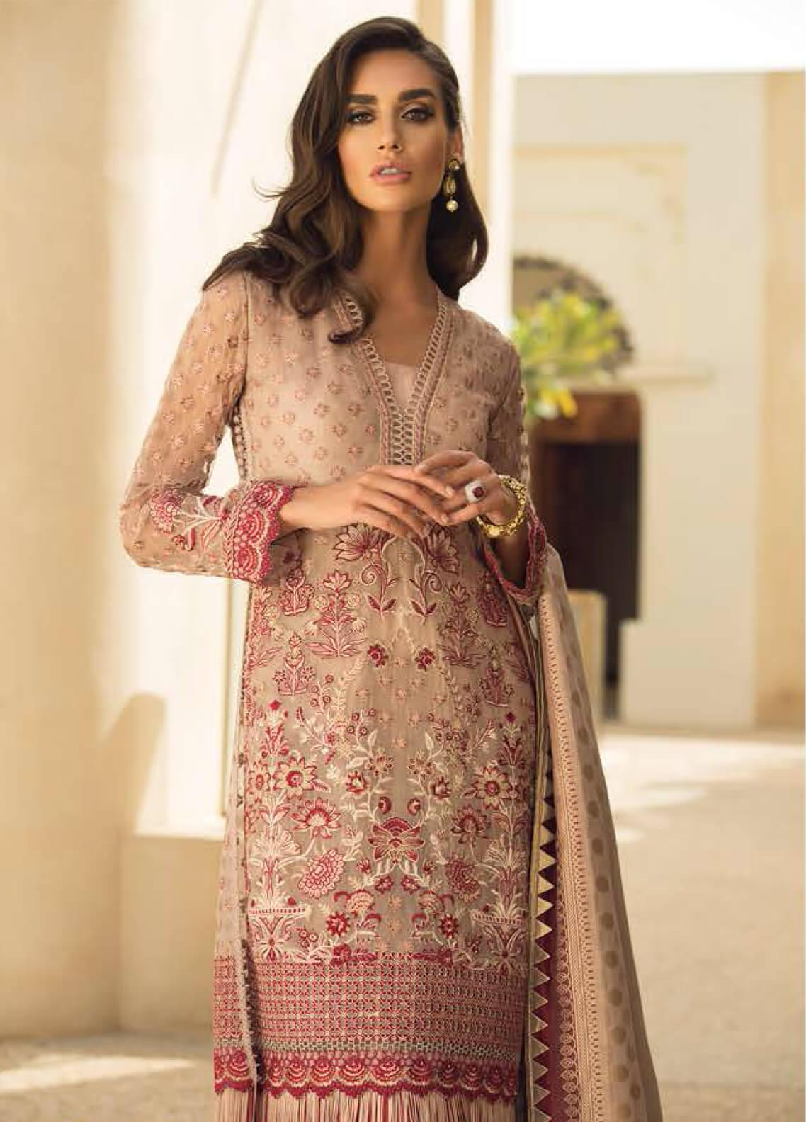 Faraz Manan Embroidered Organza Unstitched 3 Piece Suit FZM19LX 07 - Luxury Collection