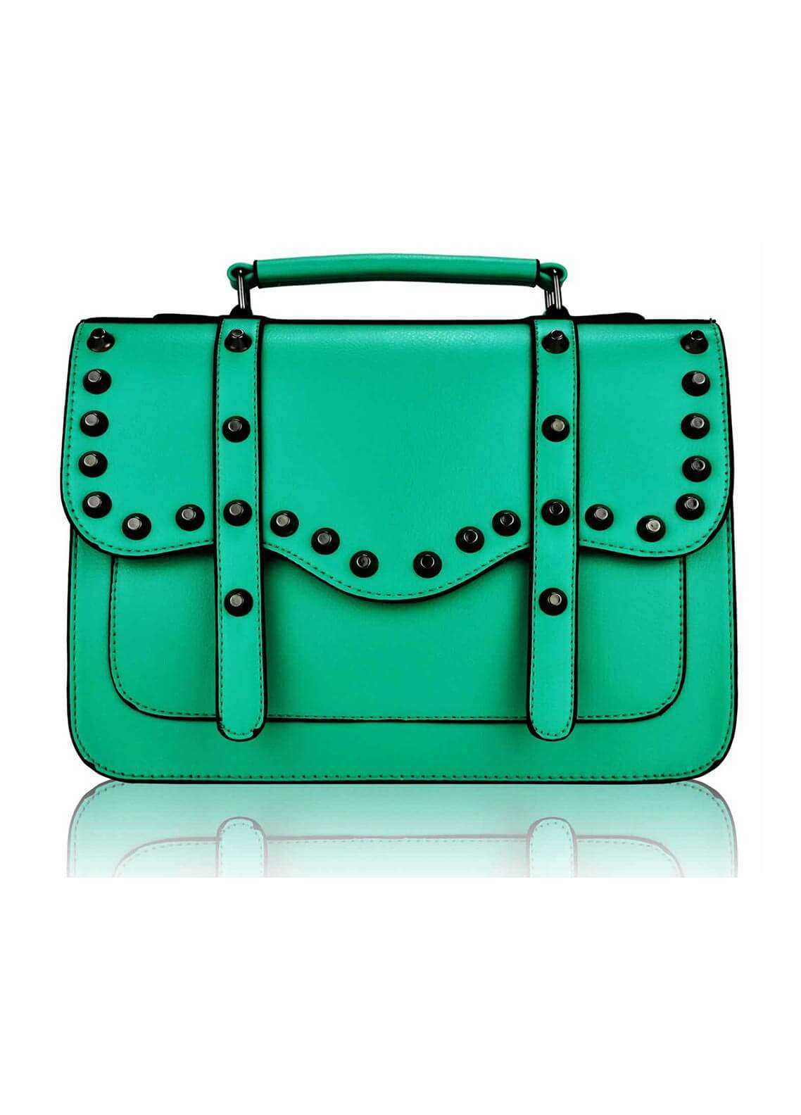 Fashion Only Faux Leather Satchels Bags for Woman - Emerald