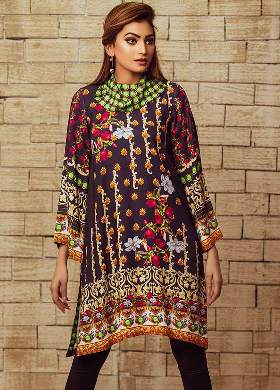 Fateh Printed Viscose Unstitched Kurties FS-0066 - Winter Collection