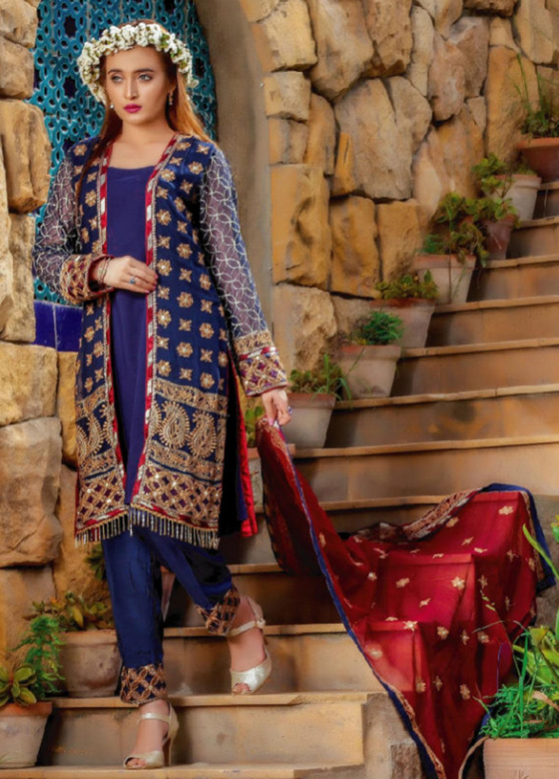 Fateh Embroidered Chiffon Unstitched 3 Piece Suit FT19C Azure 04 - Luxury Collection