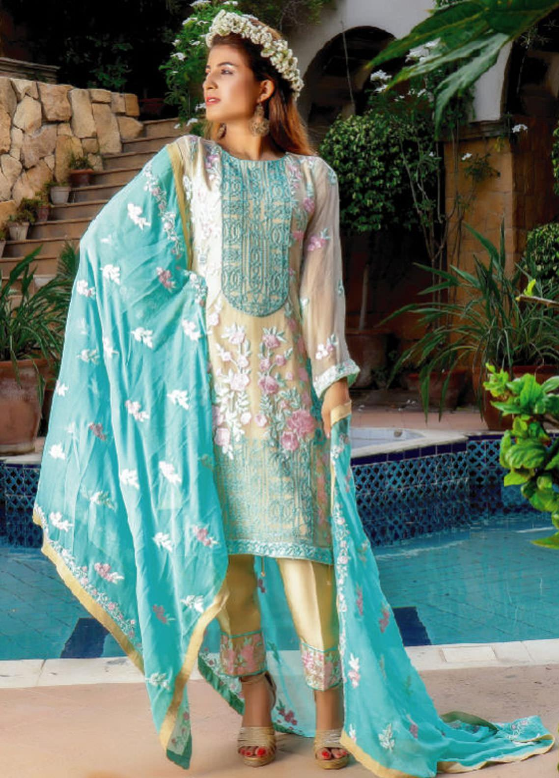Fateh Embroidered Chiffon Unstitched 3 Piece Suit FT19C Lapis-Lazuli 03 - Luxury Collection