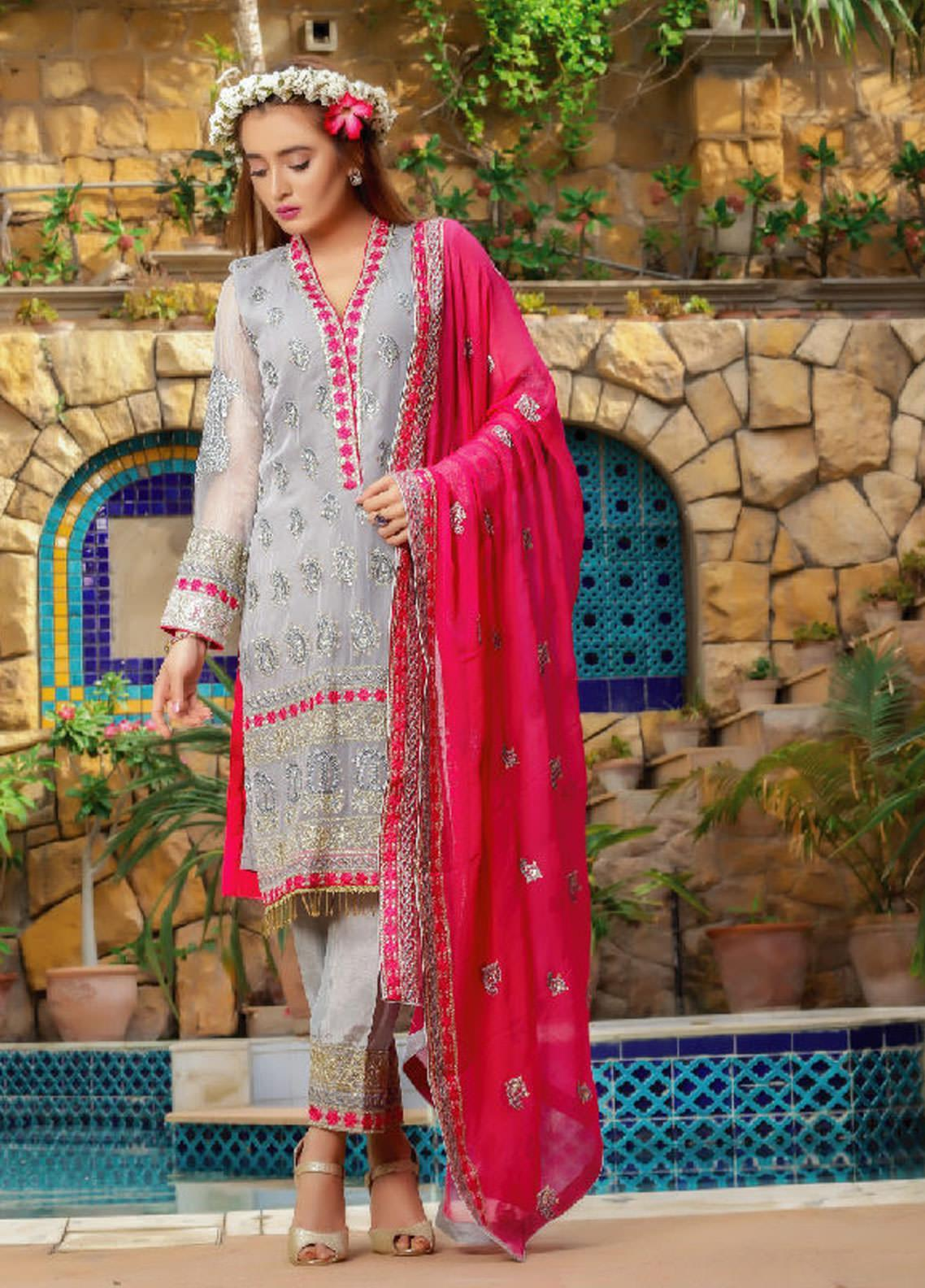 Fateh Embroidered Chiffon Unstitched 3 Piece Suit FT19C Rose Quartz 08 - Luxury Collection
