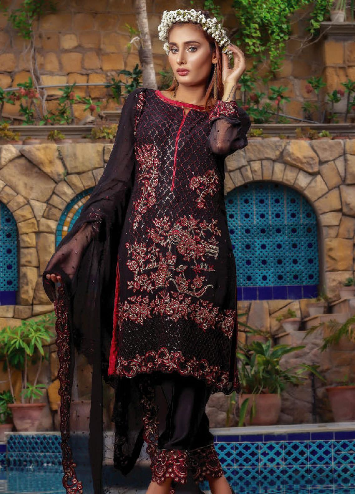 Fateh Embroidered Chiffon Unstitched 3 Piece Suit FT19C Ruby 02 - Luxury Collection