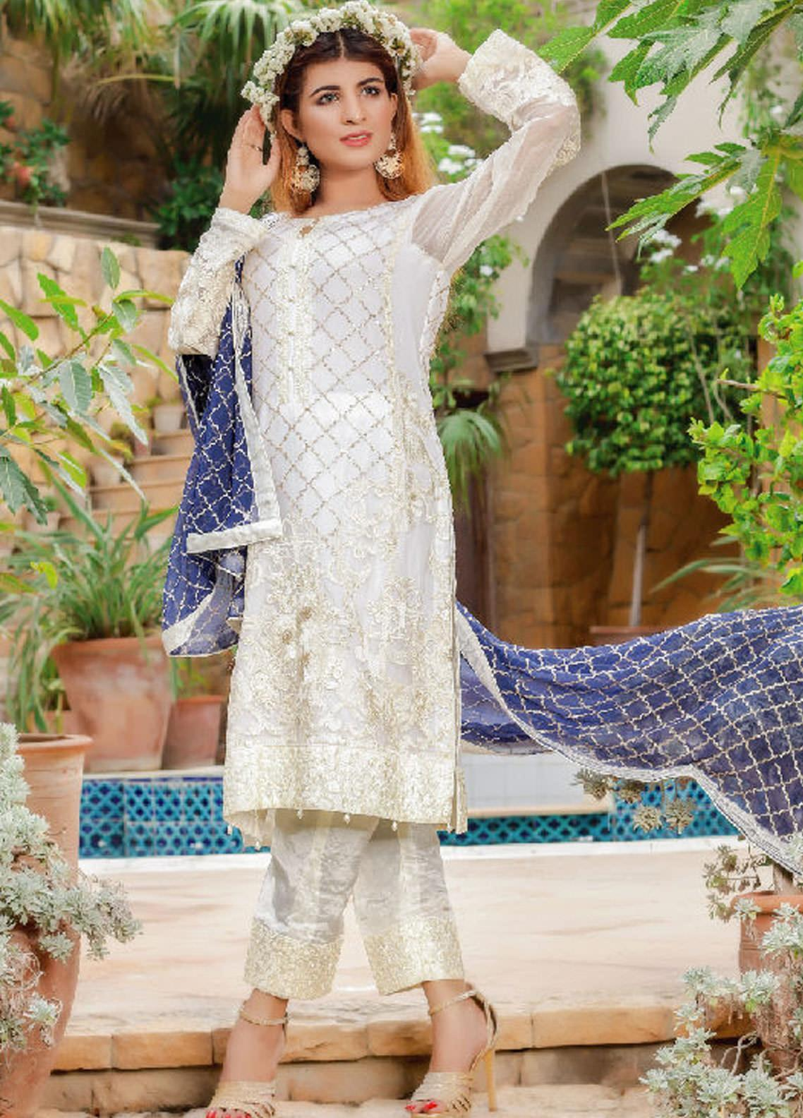 Fateh Embroidered Chiffon Unstitched 3 Piece Suit FT19C Sapphire 06 - Luxury Collection