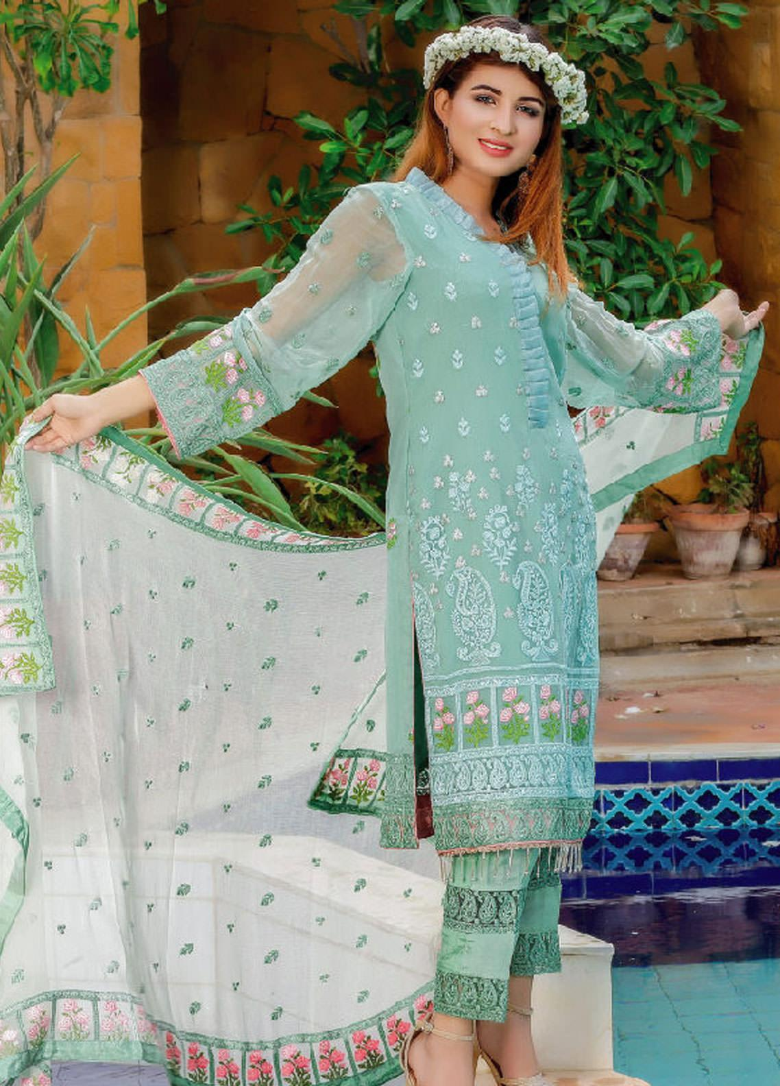 Fateh Embroidered Chiffon Unstitched 3 Piece Suit FT19C Zireon 01 - Luxury Collection