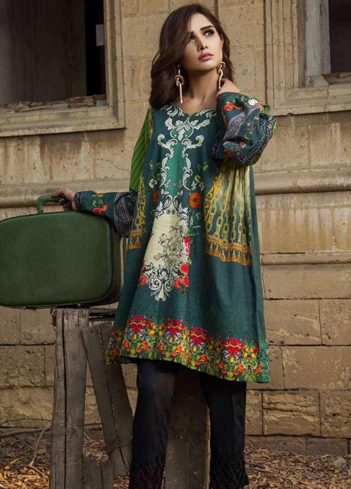 Fateh Printed Khaddar Unstitched Kurties FOK19C 02 Mosses - Khaddar Collection
