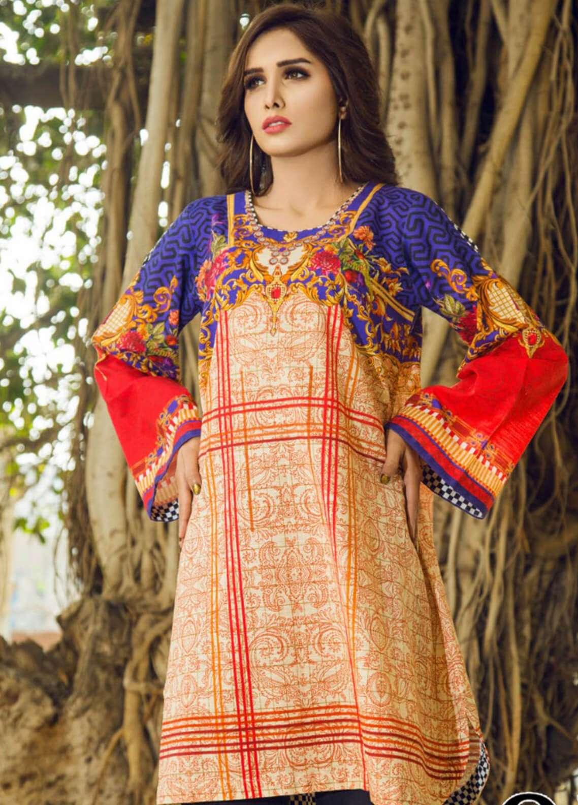 Fateh Printed Khaddar Unstitched Kurties FOK19C 03 Opulent - Khaddar Collection