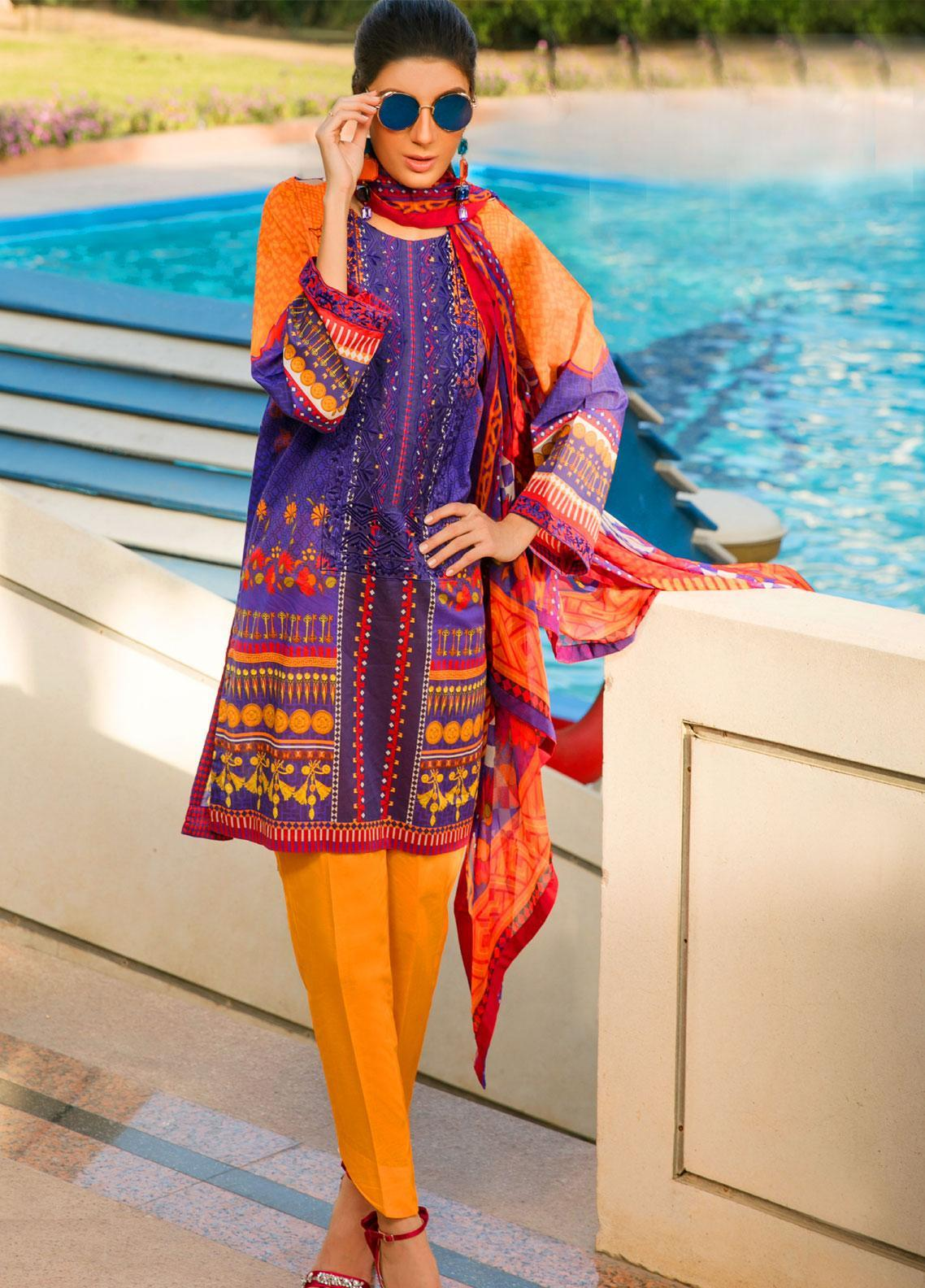 Fateh Embroidered Lawn Unstitched 3 Piece Suit FT19L FS-0135 - Mid Summer Collection
