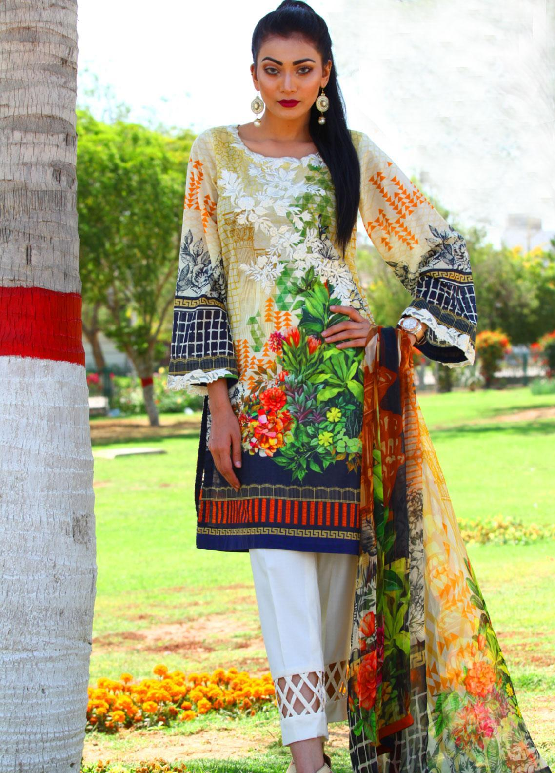 Fateh Embroidered Lawn Unstitched 3 Piece Suit FT19L FS-0139 - Mid Summer Collection