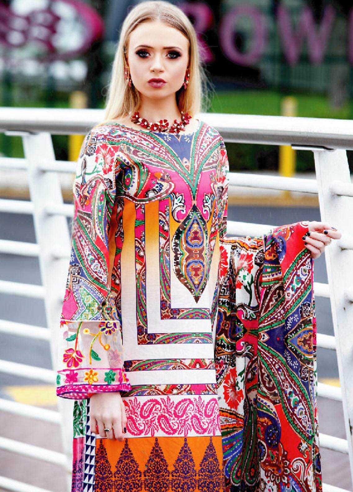 Fateh Printed Lawn Unstitched 2 Piece Suit FT19OR FS-0180 - Mid Summer Collection