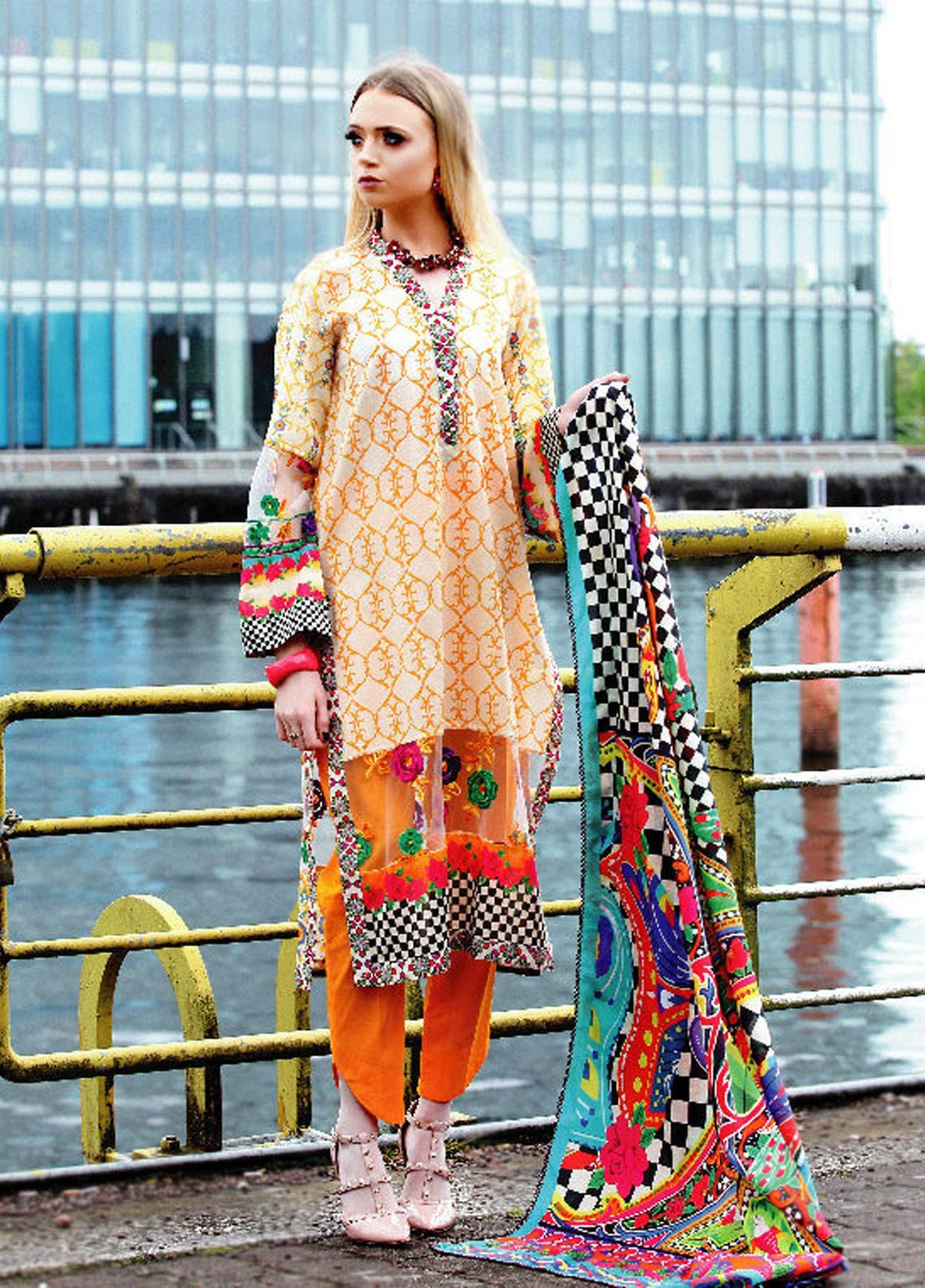 Fateh Printed Lawn Unstitched 2 Piece Suit FT19OR FS-0181 - Mid Summer Collection