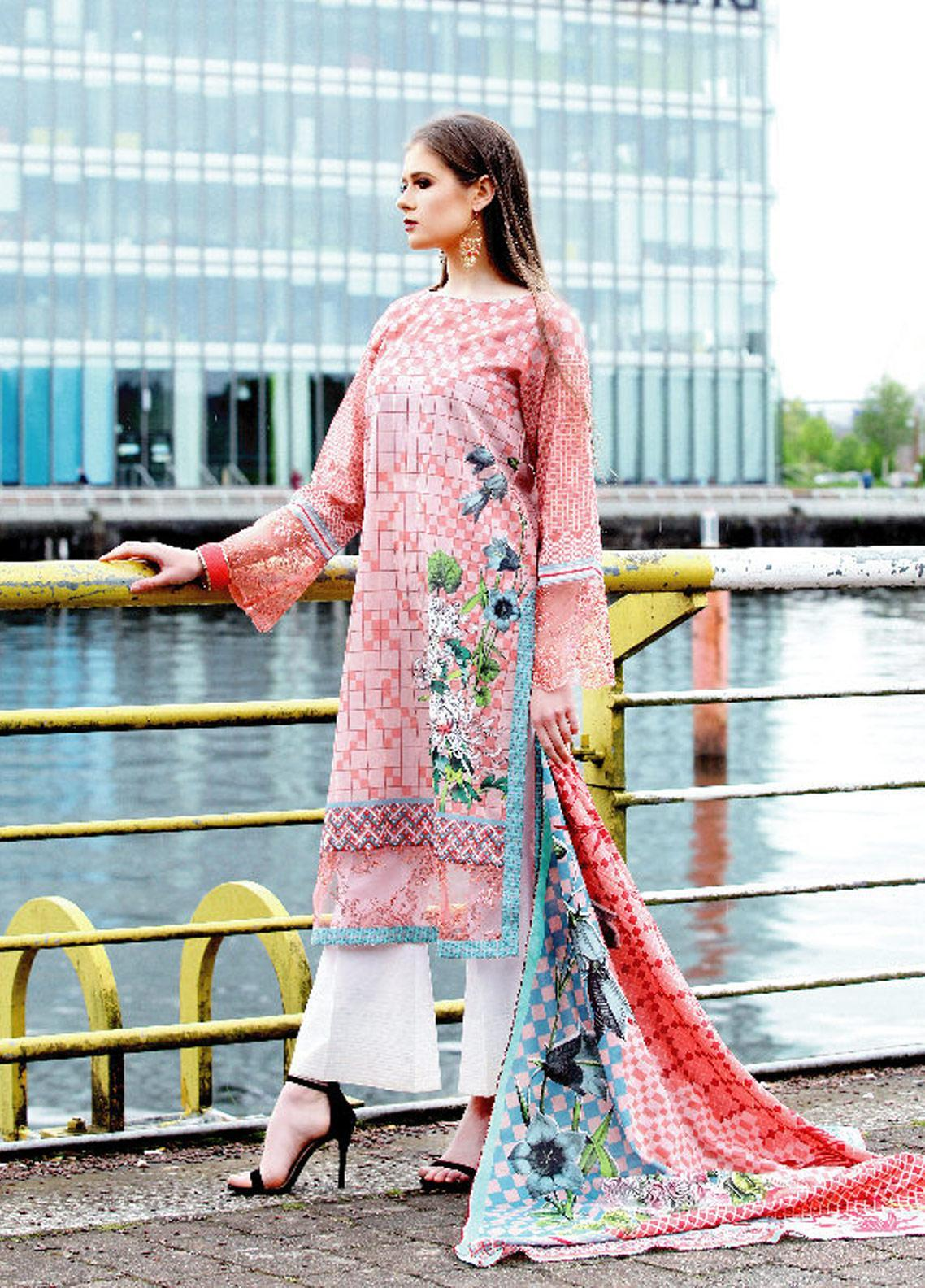 Fateh Printed Lawn Unstitched 2 Piece Suit FT19OR FS-0184 - Mid Summer Collection
