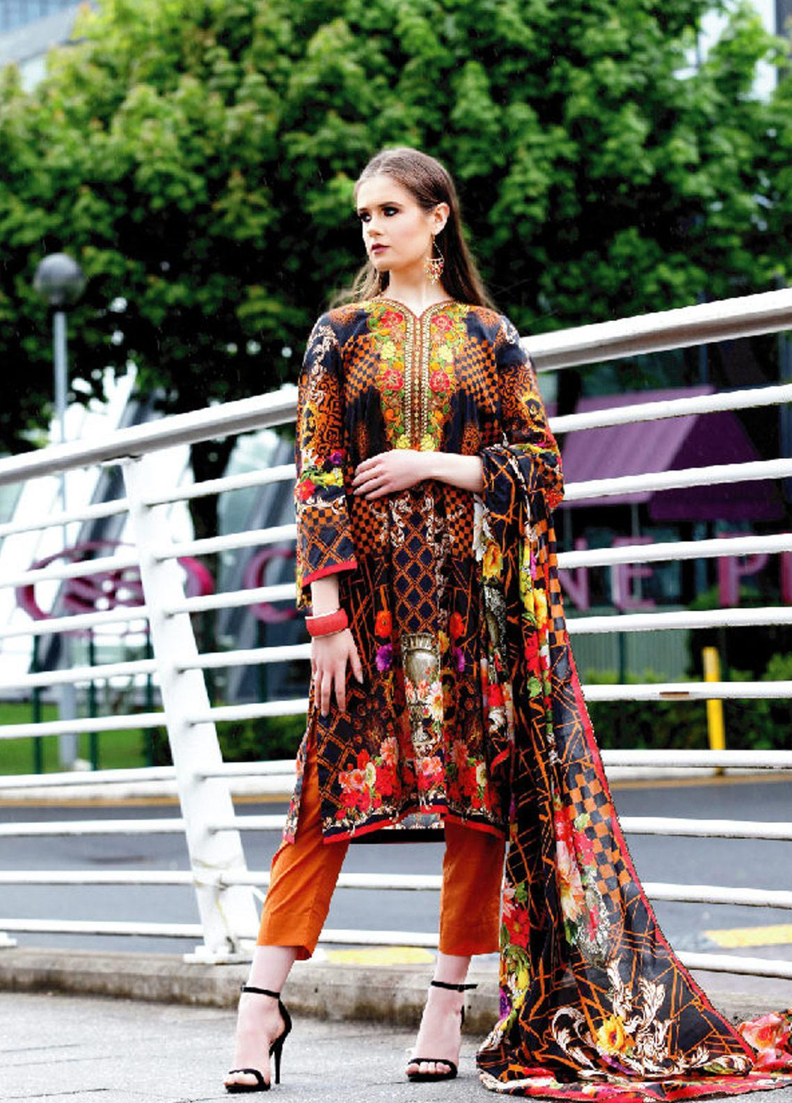 Fateh Printed Lawn Unstitched 2 Piece Suit FT19OR FS-0186 - Mid Summer Collection