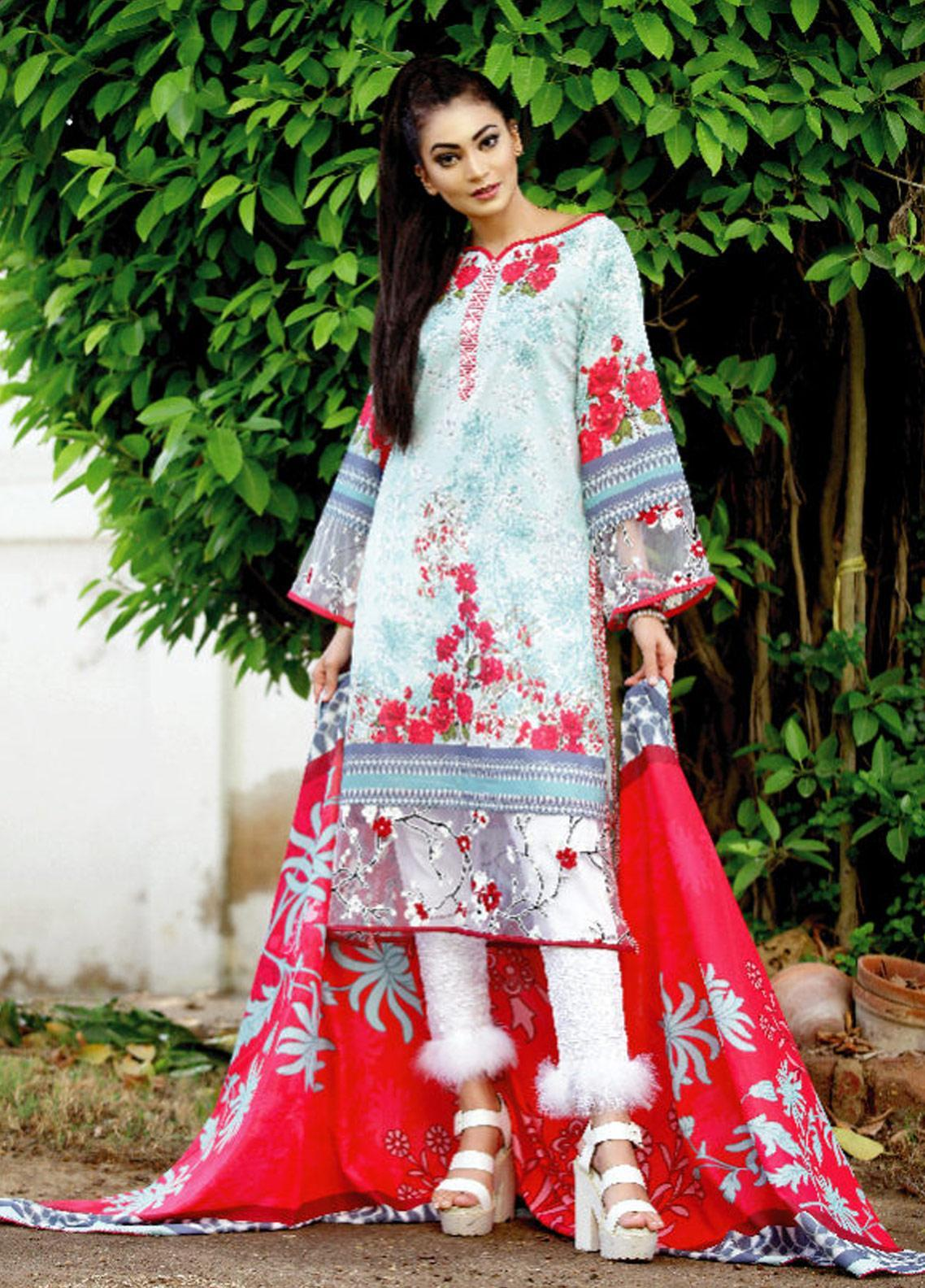 Fateh Printed Lawn Unstitched 2 Piece Suit FT19OR FS-0187 - Mid Summer Collection