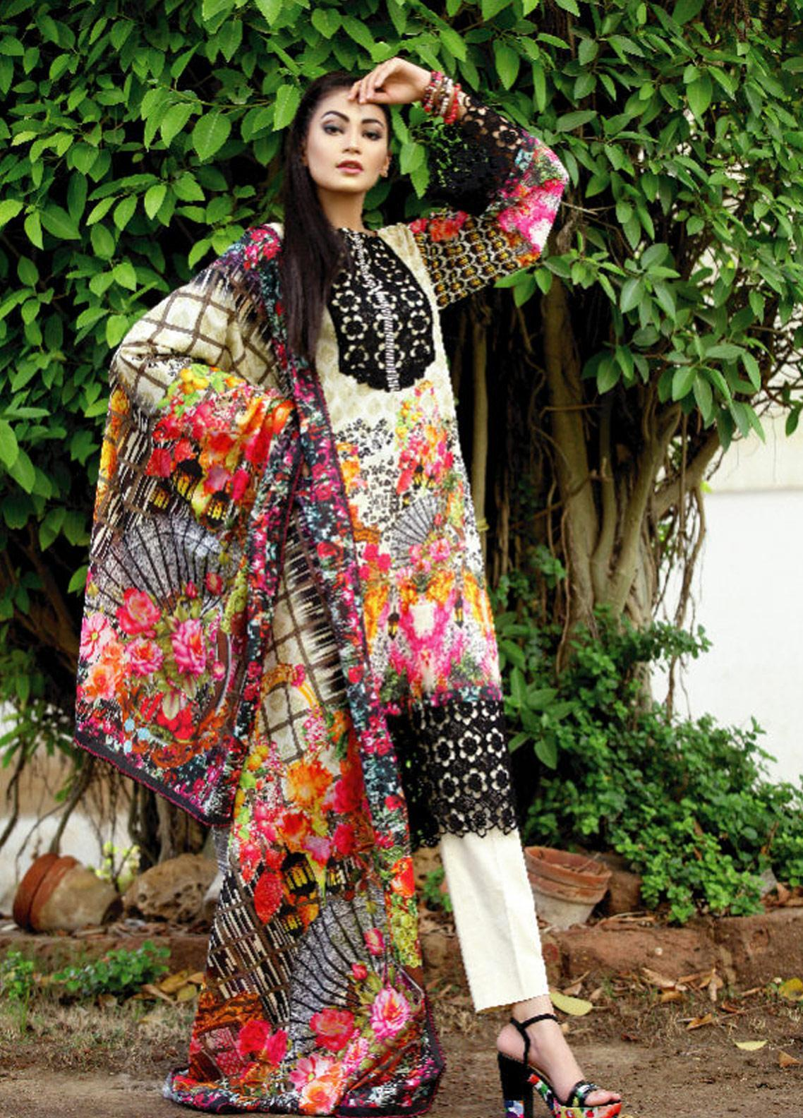 Fateh Printed Lawn Unstitched 2 Piece Suit FT19OR FS-0189 - Mid Summer Collection
