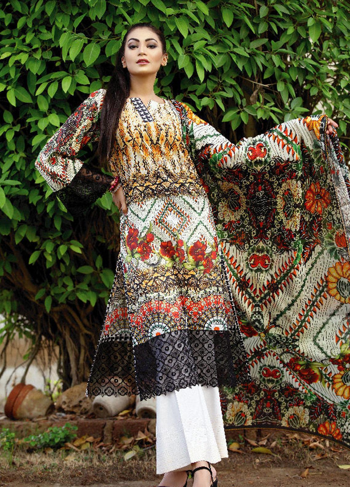 c9536f4115 Fateh Printed Lawn Unstitched 2 Piece Suit FT19OR FS-0190 - Mid Summer  Collection