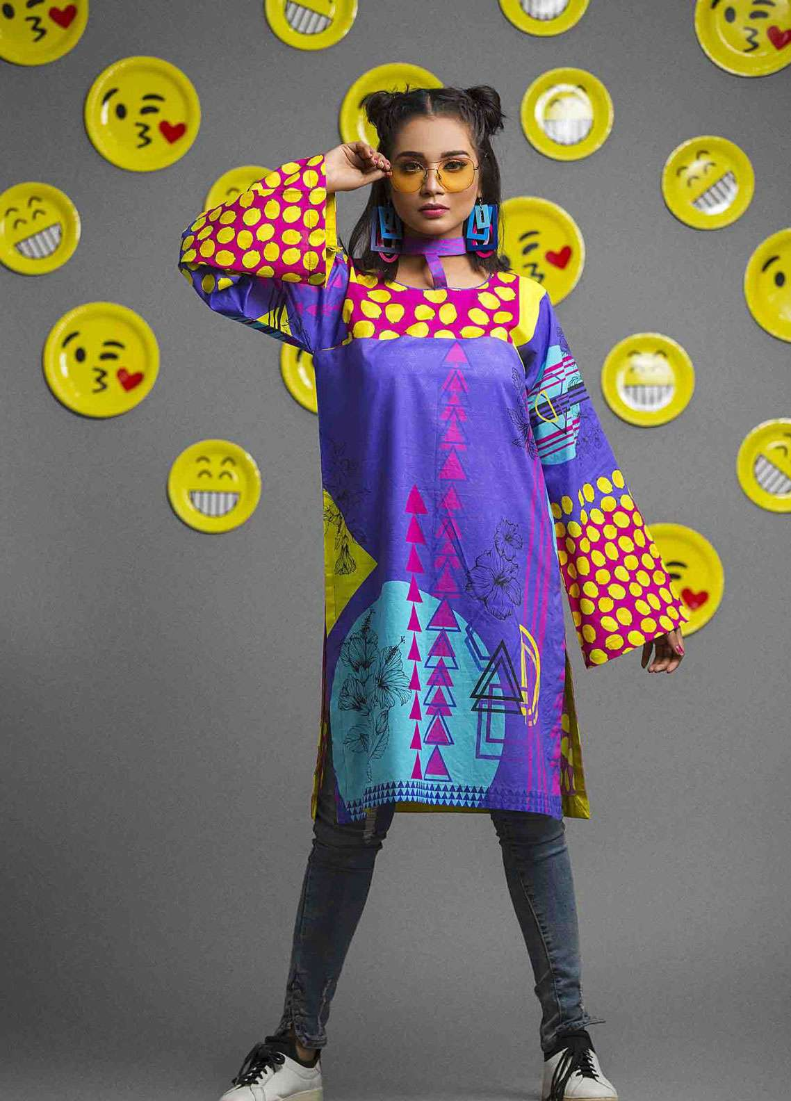 Fateh Printed Cambric Unstitched Kurties FS-0081 - Spunk Collection