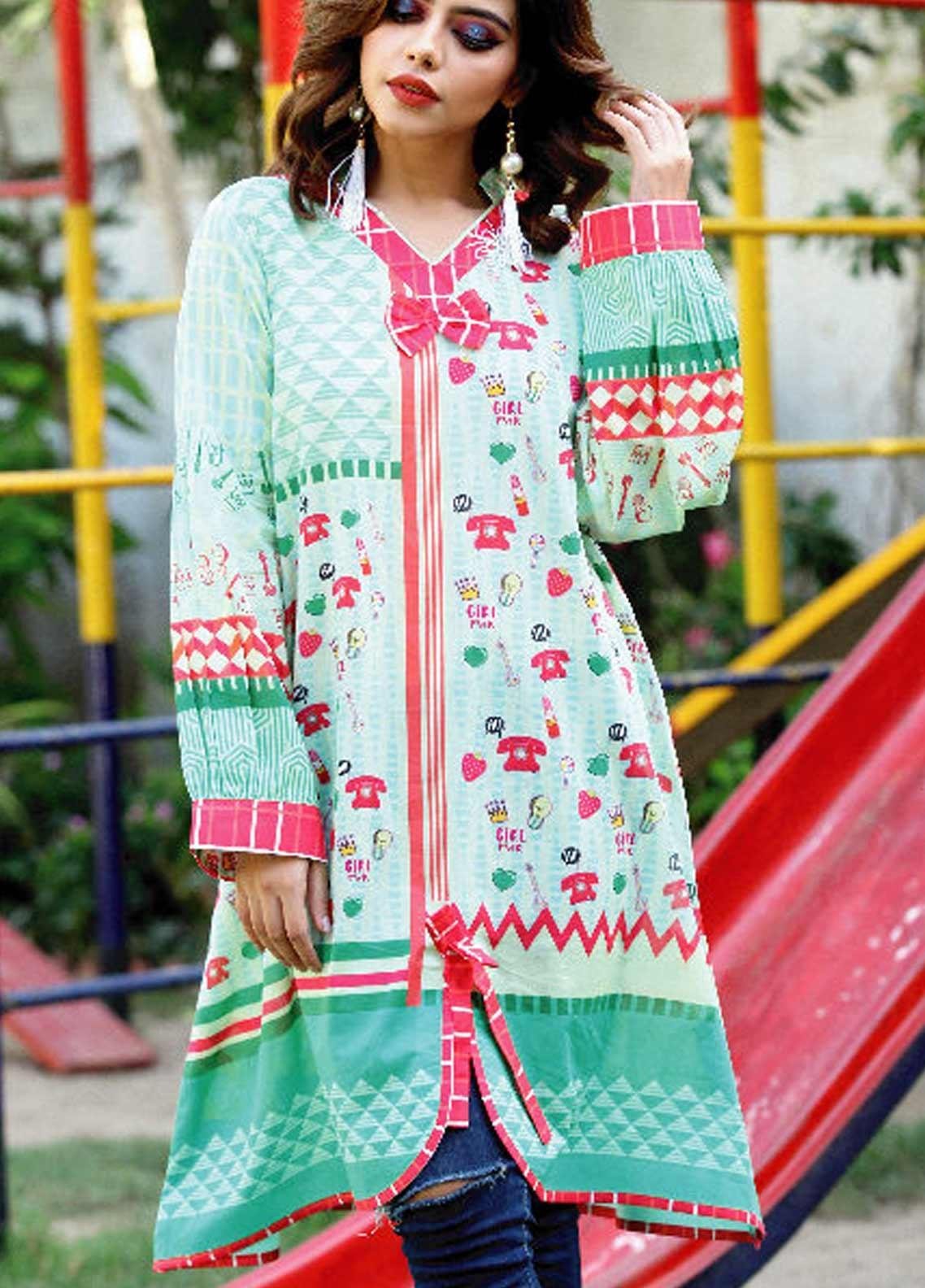 c127dee436 Fateh Printed Lawn Unstitched Kurties FT19-S5 FS-0174 - Mid Summer  Collection
