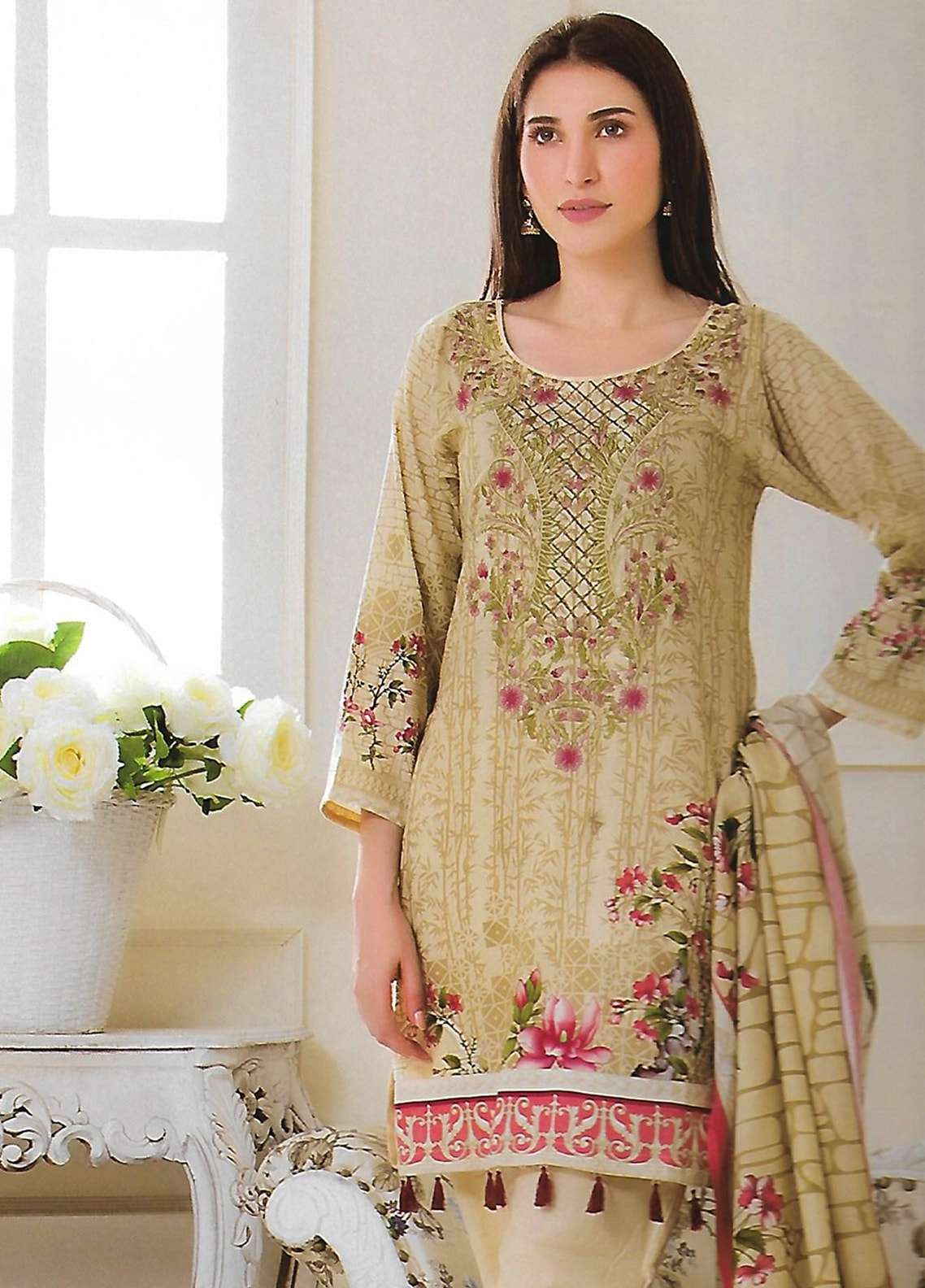 Firdous Fashion Embroidered Lawn Unstitched 3 Piece Suit FF18E 3A - Mid Summer Collection