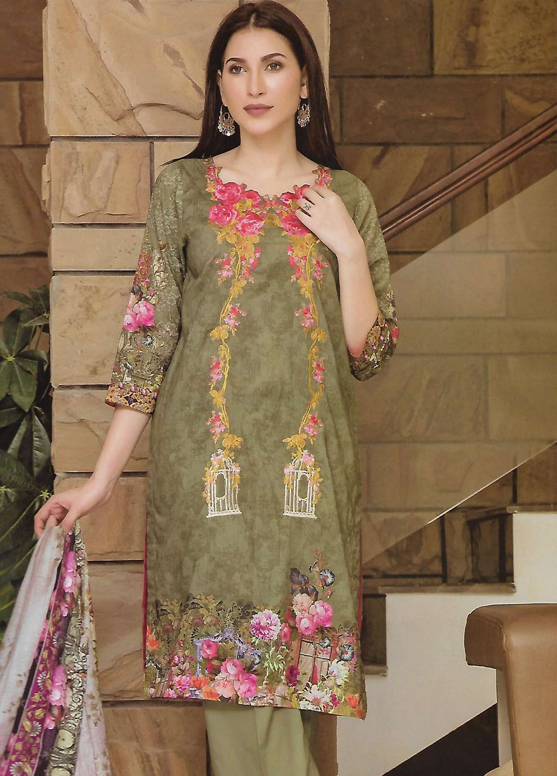 Firdous Fashion Embroidered Lawn Unstitched 3 Piece Suit FF18E 7B - Mid Summer Collection
