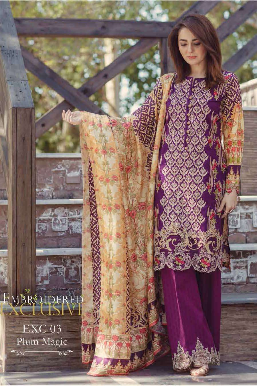 Firdous Fashion Embroidered Lawn Unstitched 3 Piece Suit FI17L 03