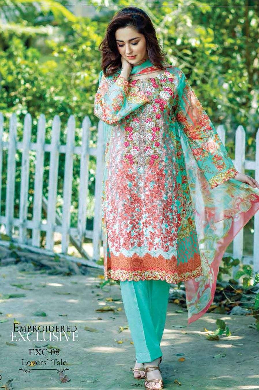 Firdous Fashion Embroidered Lawn Unstitched 3 Piece Suit FI17L 08