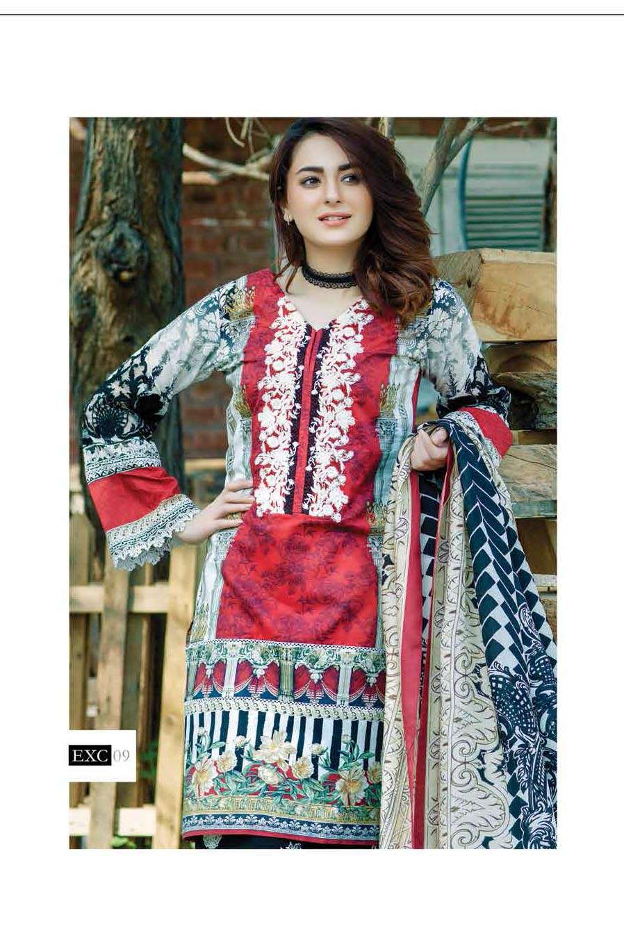 Firdous Fashion Embroidered Lawn Unstitched 3 Piece Suit FI17L 09