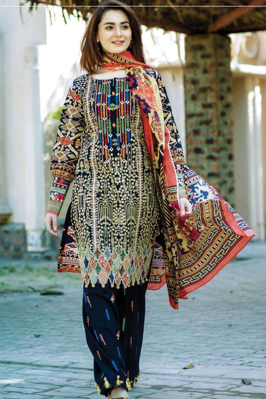 Firdous Fashion Embroidered Lawn Unstitched 3 Piece Suit FI17L 1B