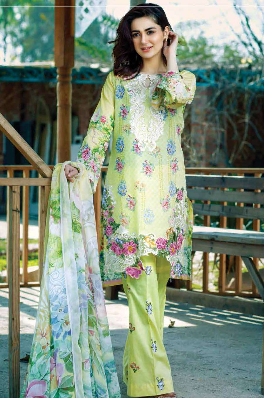 Firdous Fashion Embroidered Lawn Unstitched 3 Piece Suit FI17L 4B