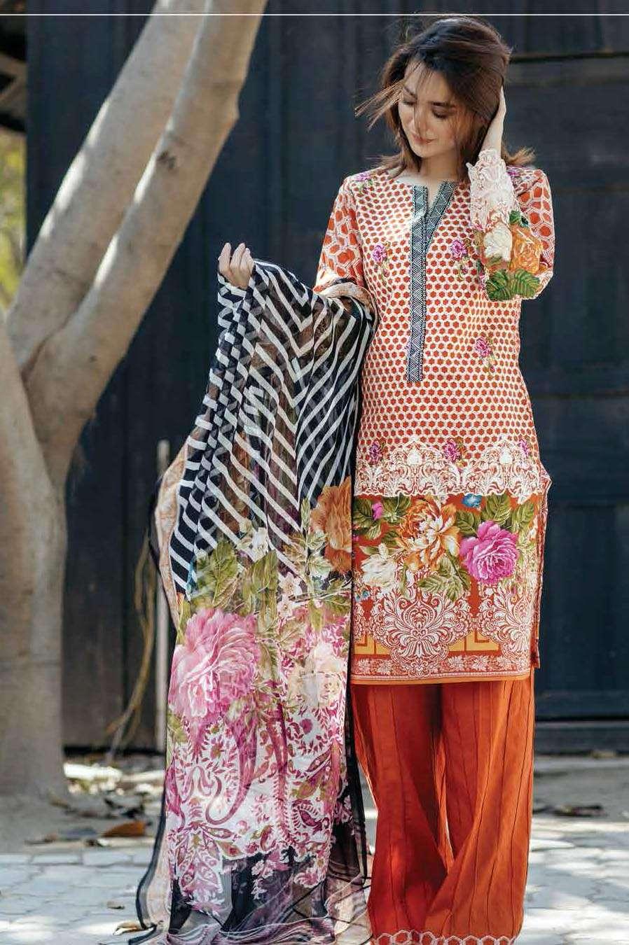 Firdous Fashion Embroidered Lawn Unstitched 3 Piece Suit FI17L 7B