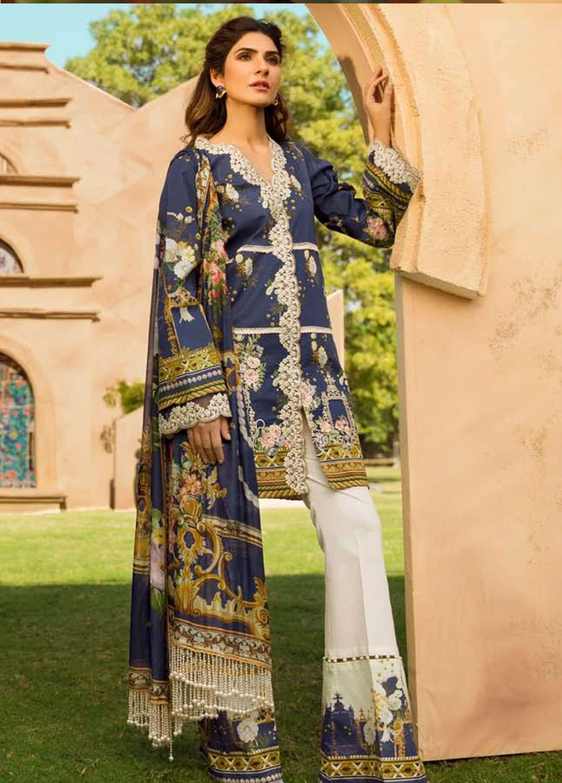 Firdous Fashion Embroidered Lawn Unstitched 3 Piece Suit FR19L 06 - Spring / Summer Collection