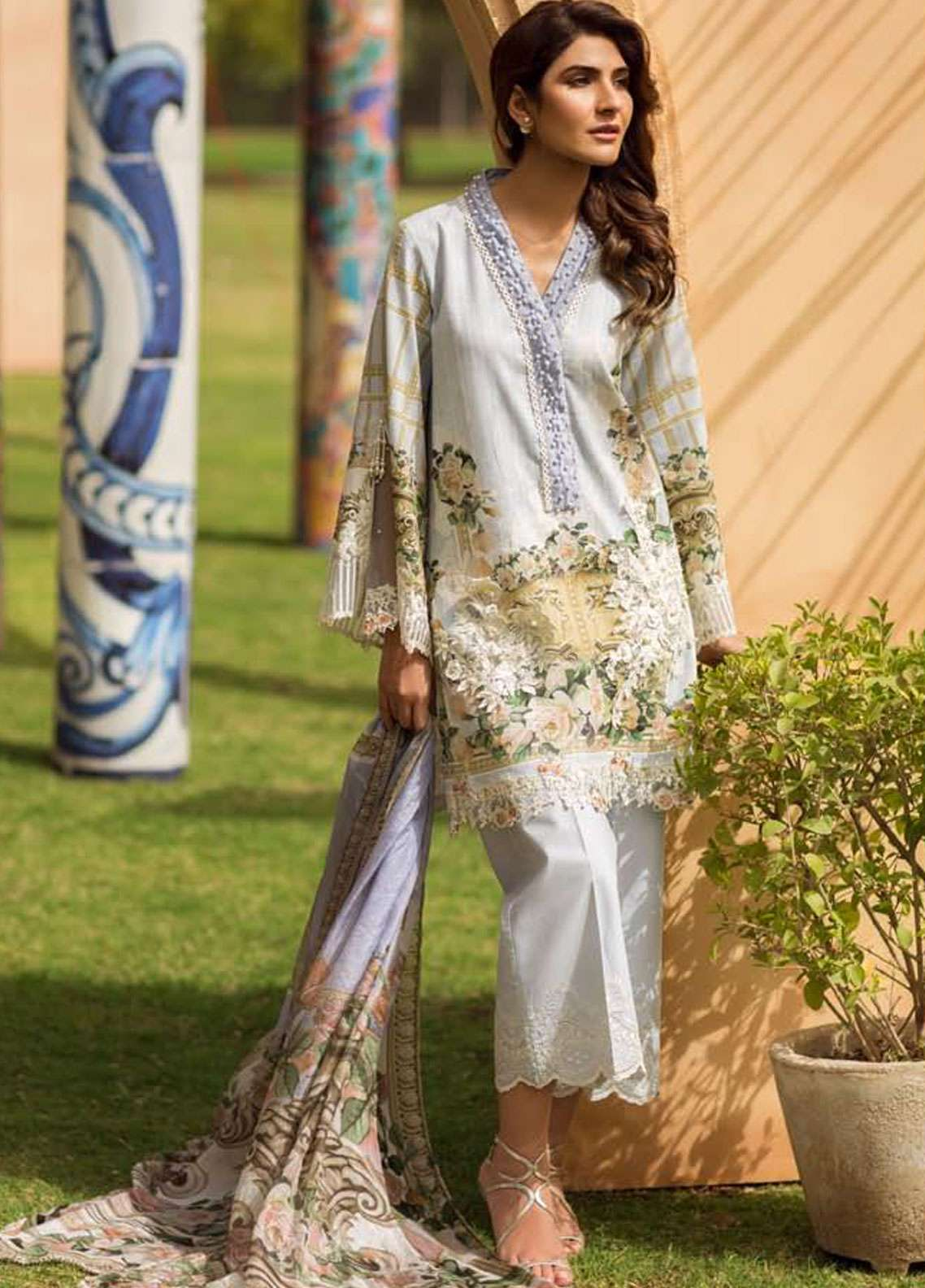 Firdous Fashion Embroidered Lawn Unstitched 3 Piece Suit FR19L 08 - Spring / Summer Collection