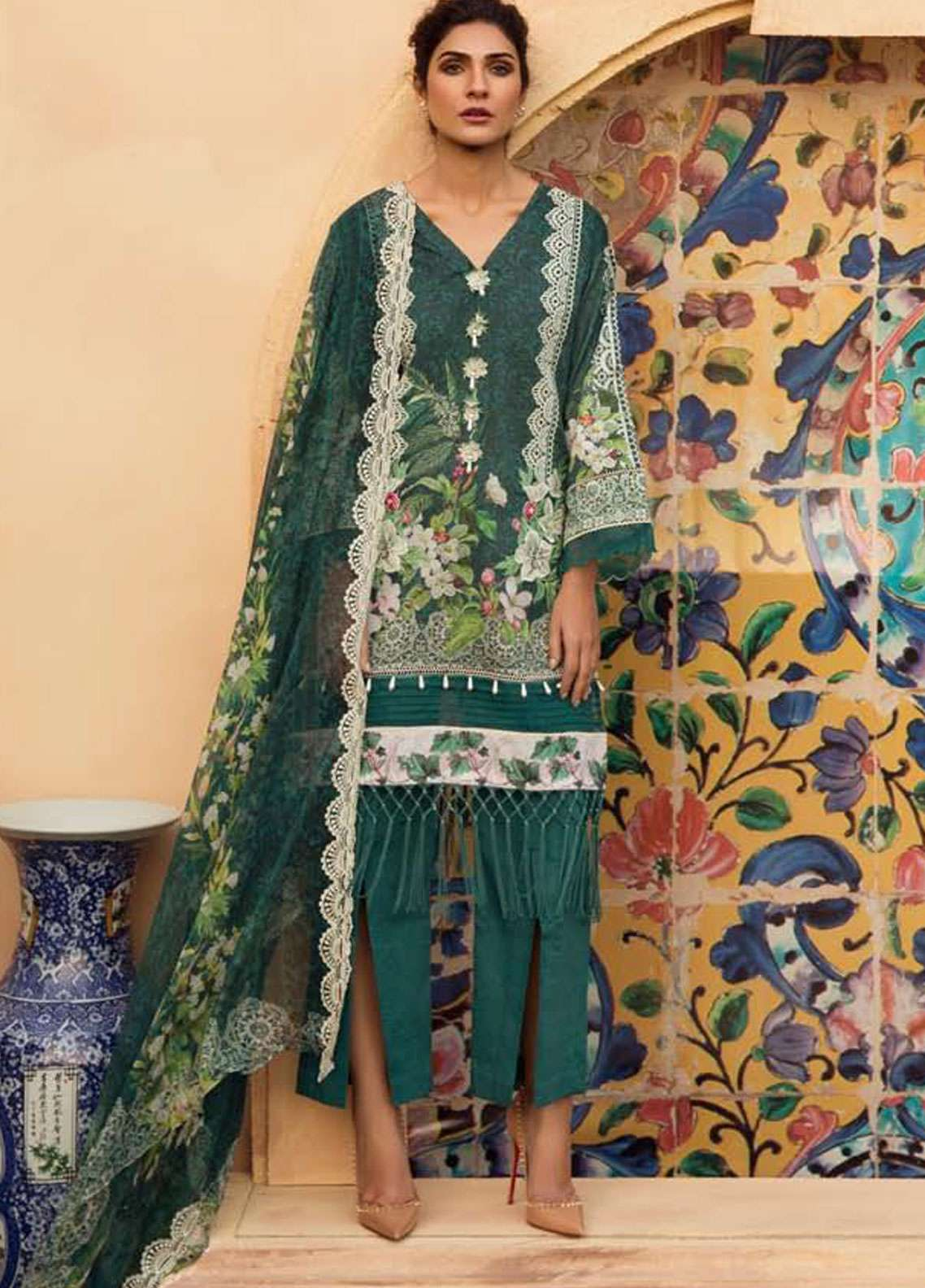 Firdous Fashion Embroidered Lawn Unstitched 3 Piece Suit FR19L 12 - Spring / Summer Collection
