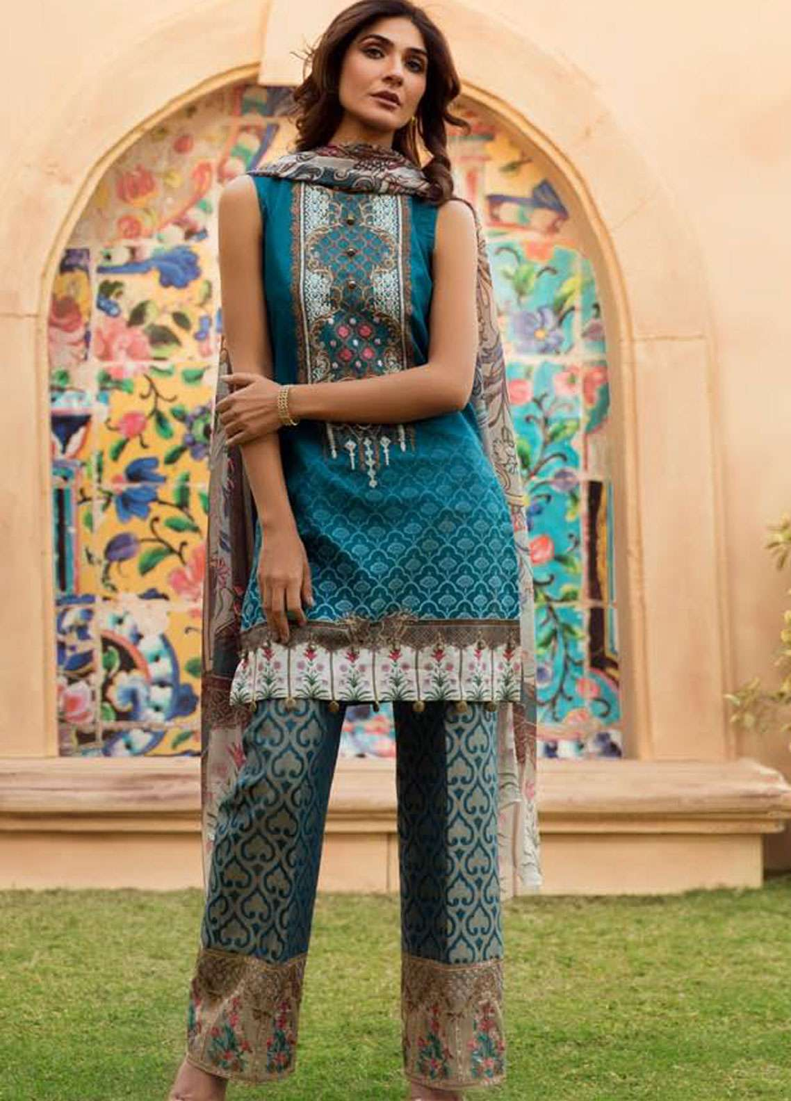 Firdous Fashion Embroidered Lawn Unstitched 3 Piece Suit FR19L 13 - Spring / Summer Collection