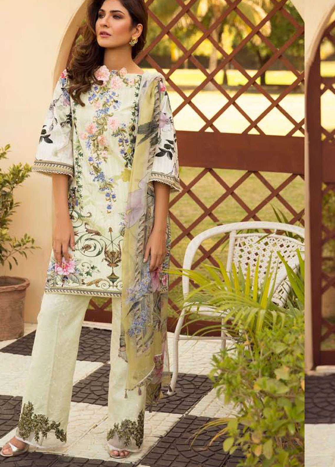 Firdous Fashion Embroidered Lawn Unstitched 3 Piece Suit FR19L 16 - Spring / Summer Collection