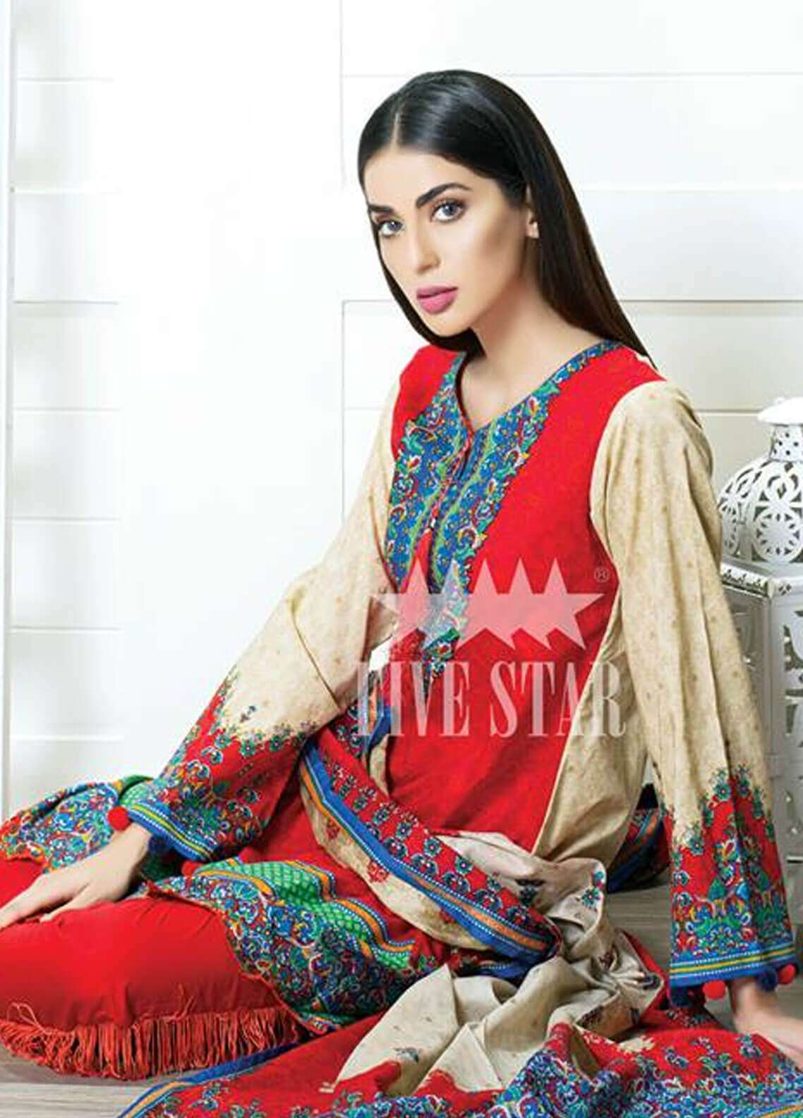 Five Star Printed Cambric Unstitched 3 Piece Suit FS18C 505B - Classic Collection