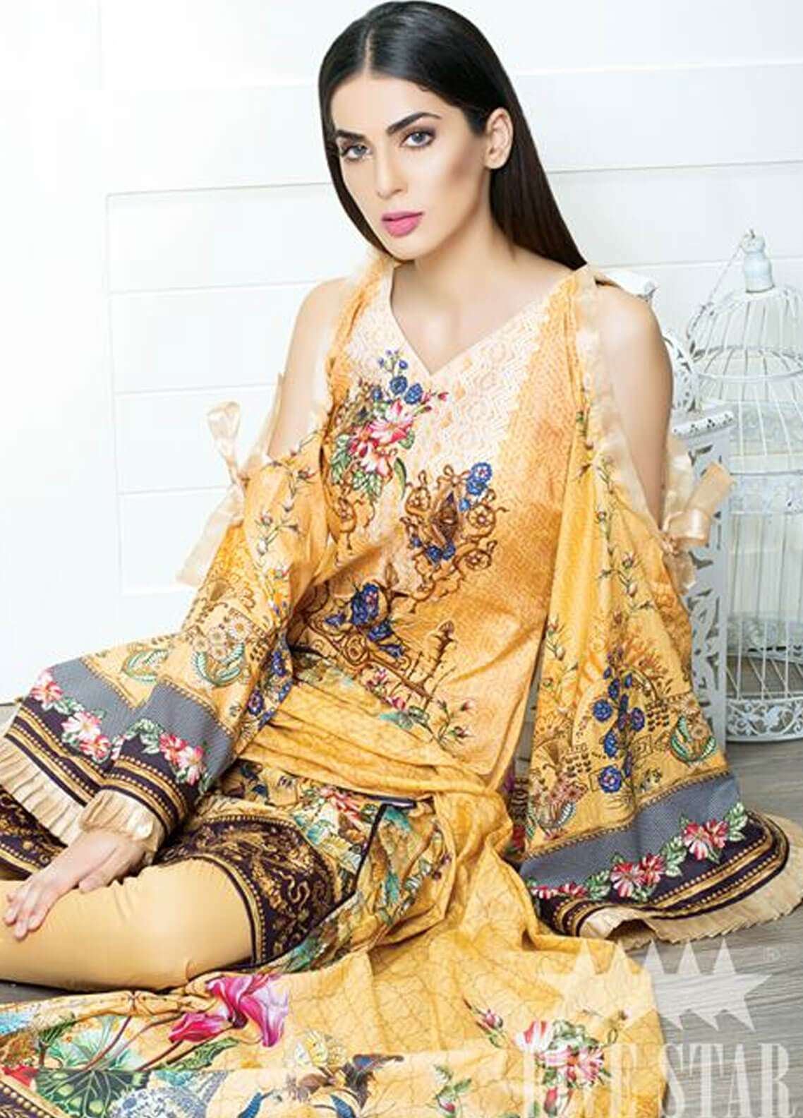 Five Star Printed Cambric Unstitched 3 Piece Suit FS18C 508 - Classic Collection