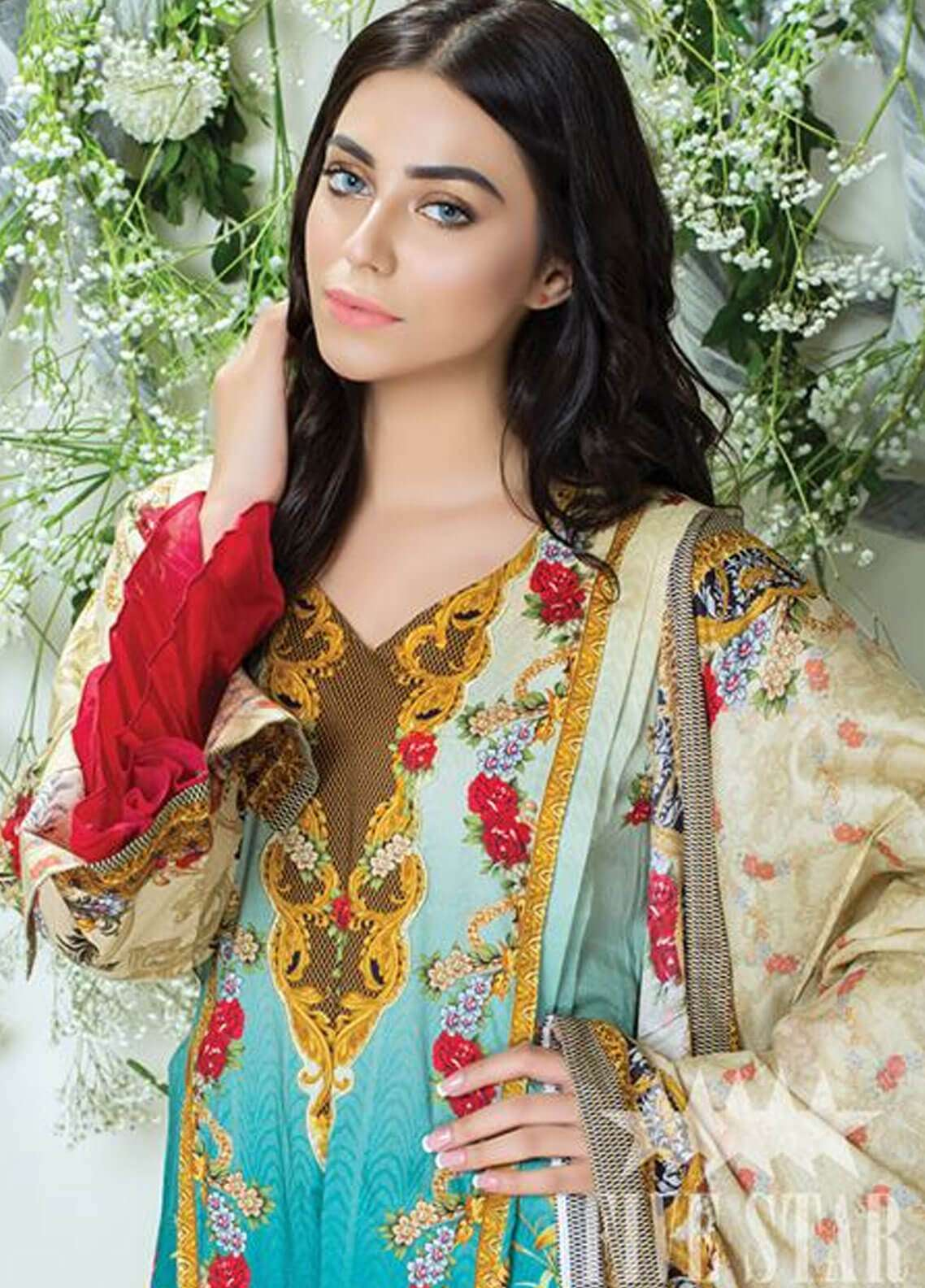 Five Star Printed Cambric Unstitched 3 Piece Suit FS18C 510 - Classic Collection