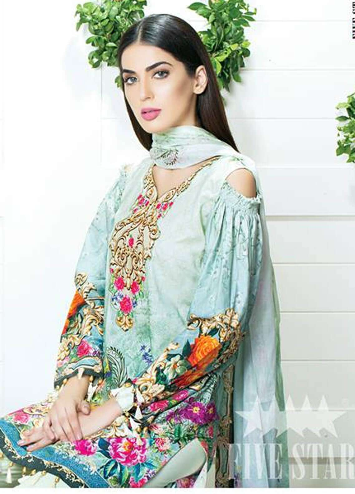 Five Star Printed Cambric Unstitched 3 Piece Suit FS18C 512 - Classic Collection