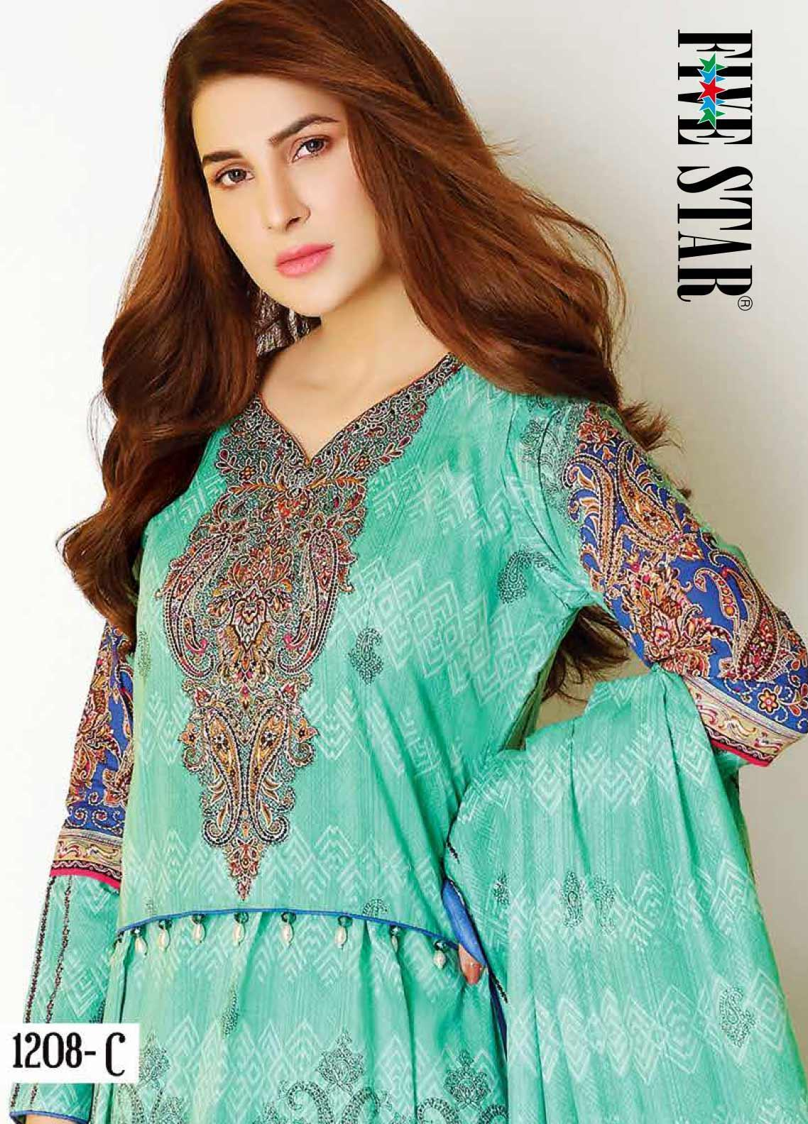 Five Star Printed Lawn Unstitched 3 Piece Suit FS20CL-1 1208C - Spring / Summer Collection