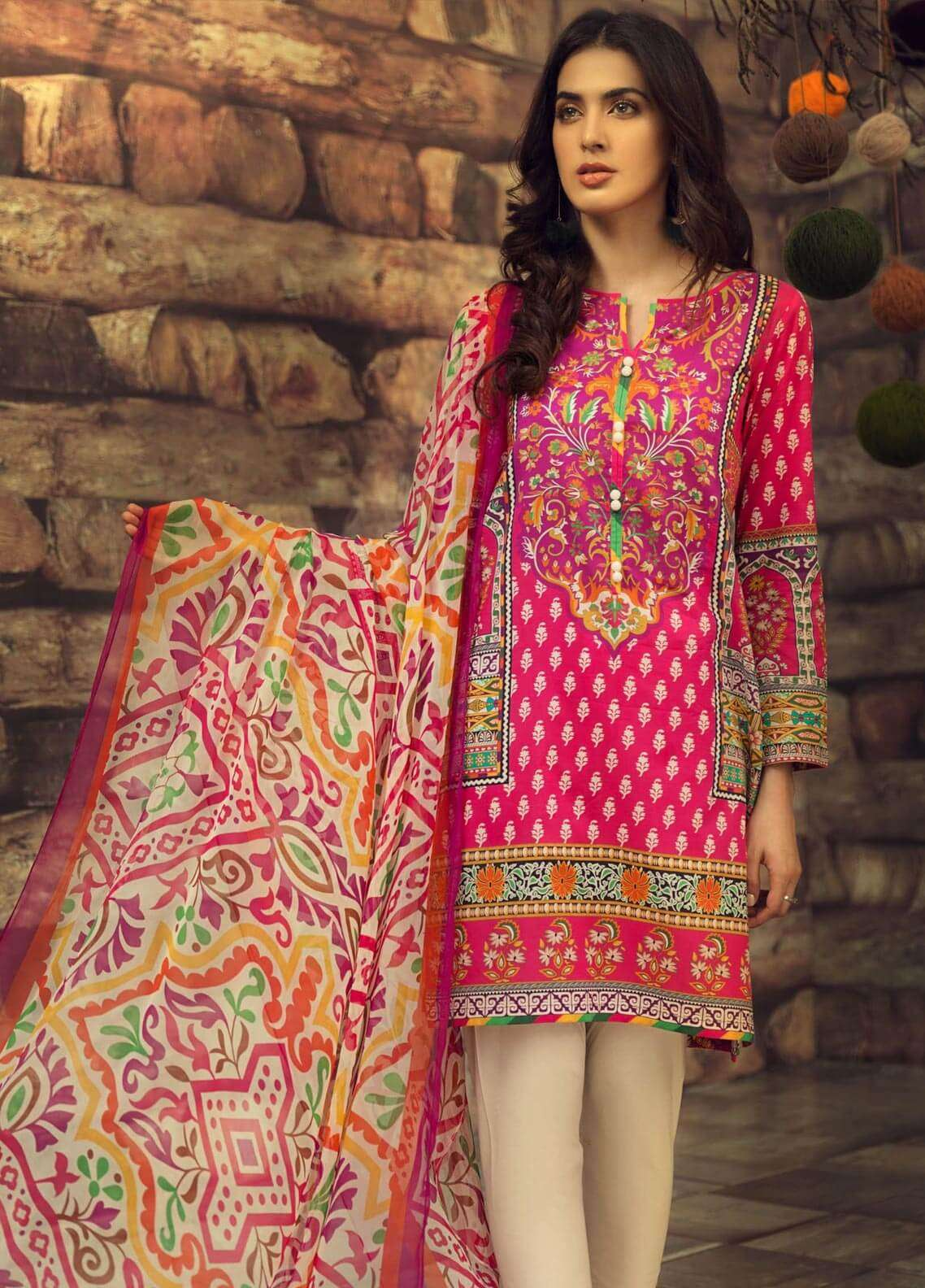 LimeLight Printed Cambric Unstitched 2 Piece Suit FLOK MAGIC (PINK) - Cambric Collection